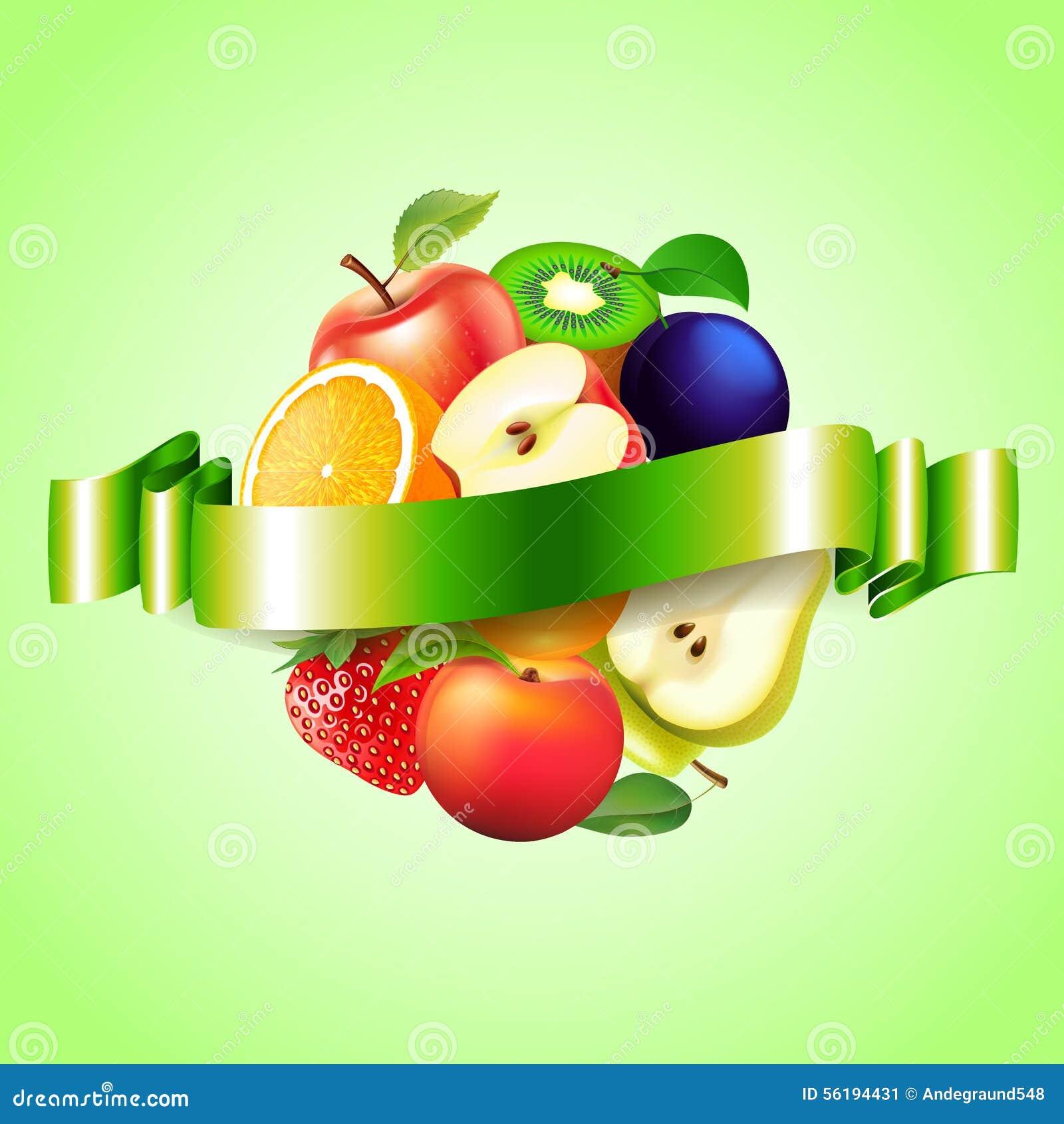 Frutifica a esfera com fundo do vetor da etiqueta