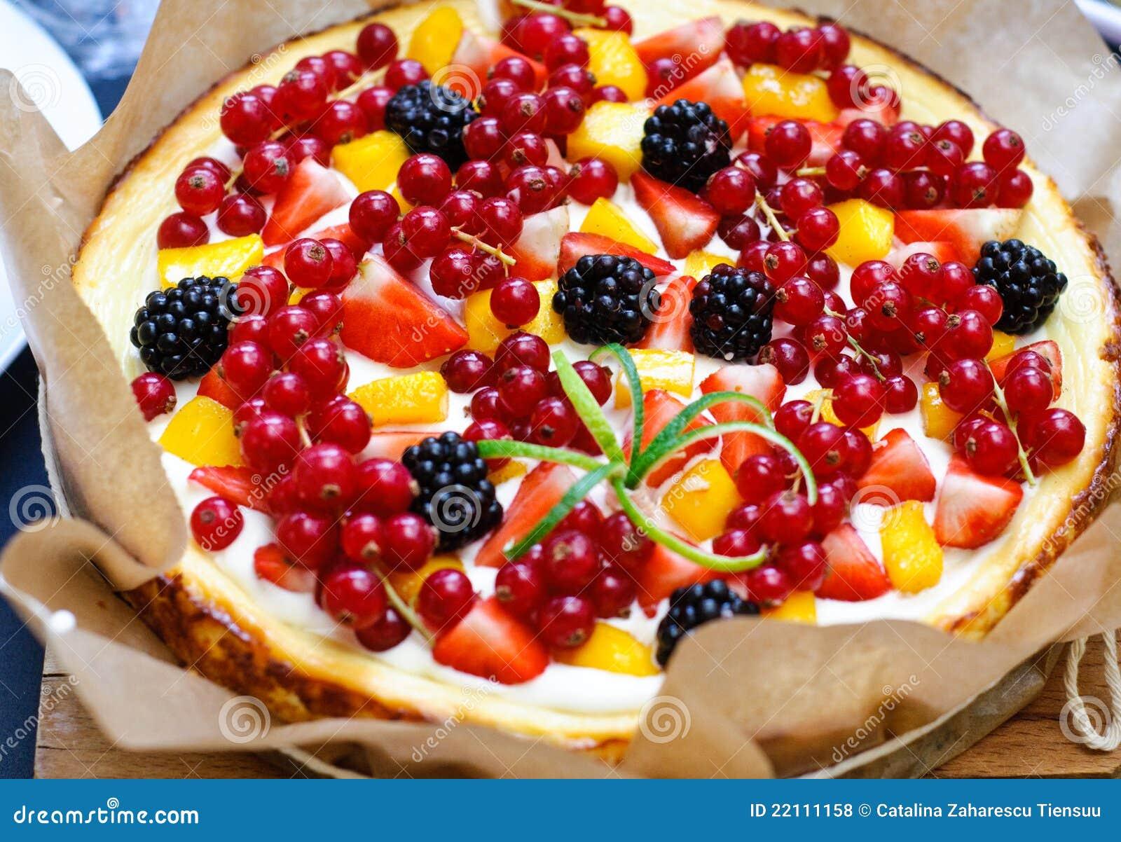 Frutifica o bolo de queijo da baunilha