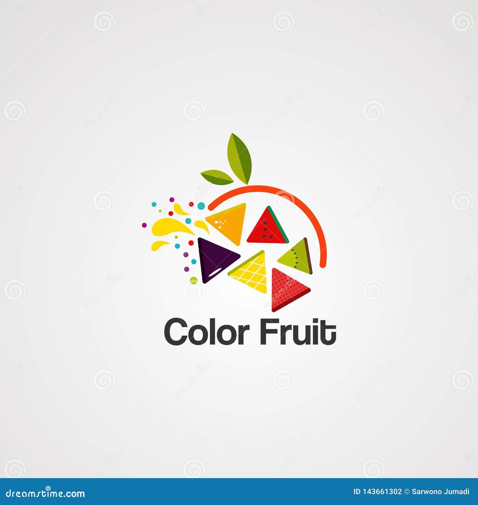 Fruto colorido no circuito com vetor, ícone, elemento, e molde do logotipo da folha para a empresa