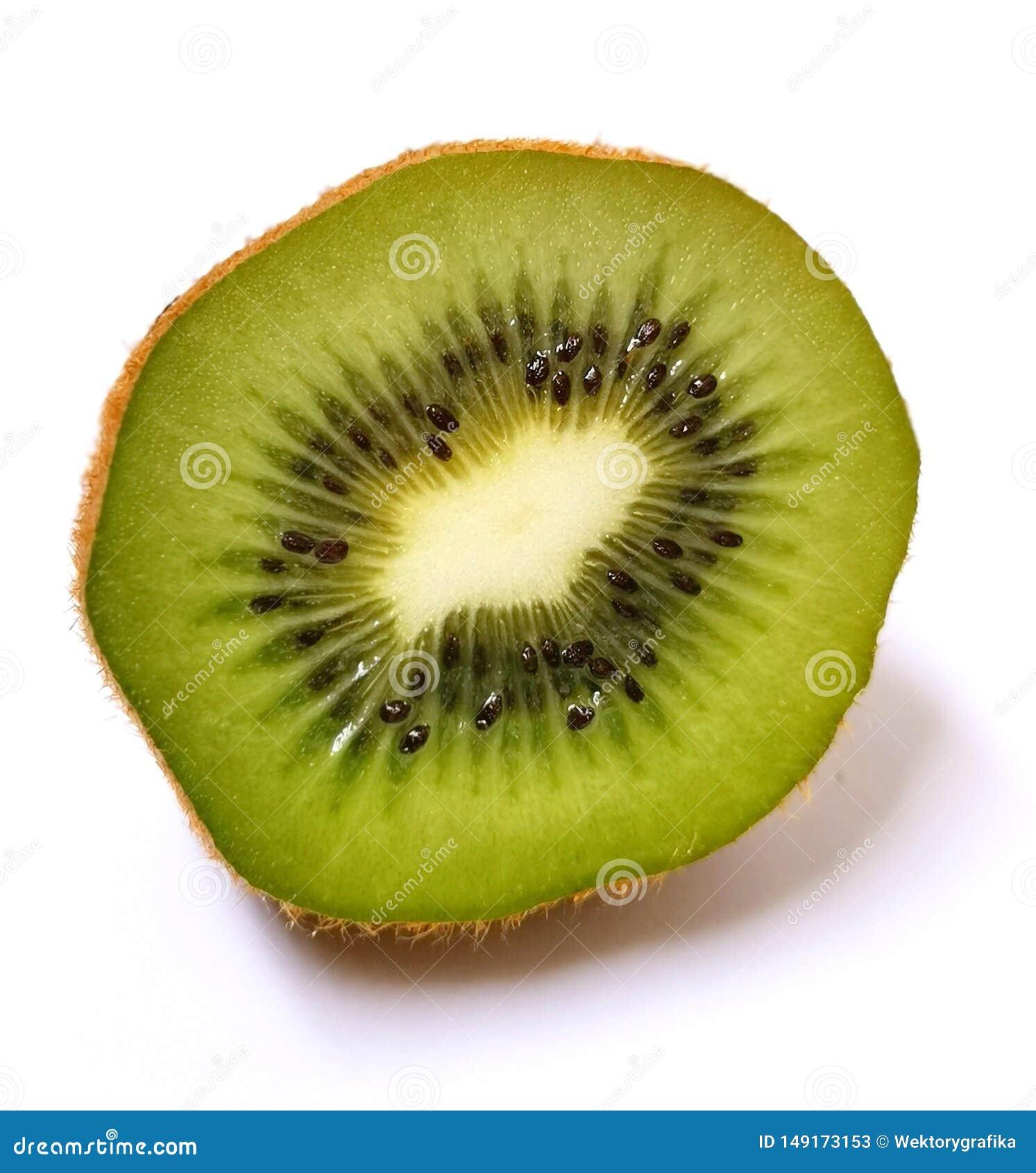 Fruto da fatia do verde do quivi isolado no fundo branco
