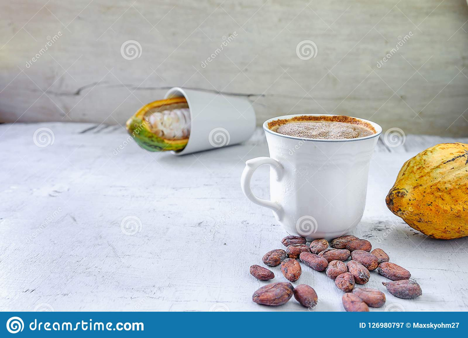 Fruto fresco do cacau e copo quente do cacau