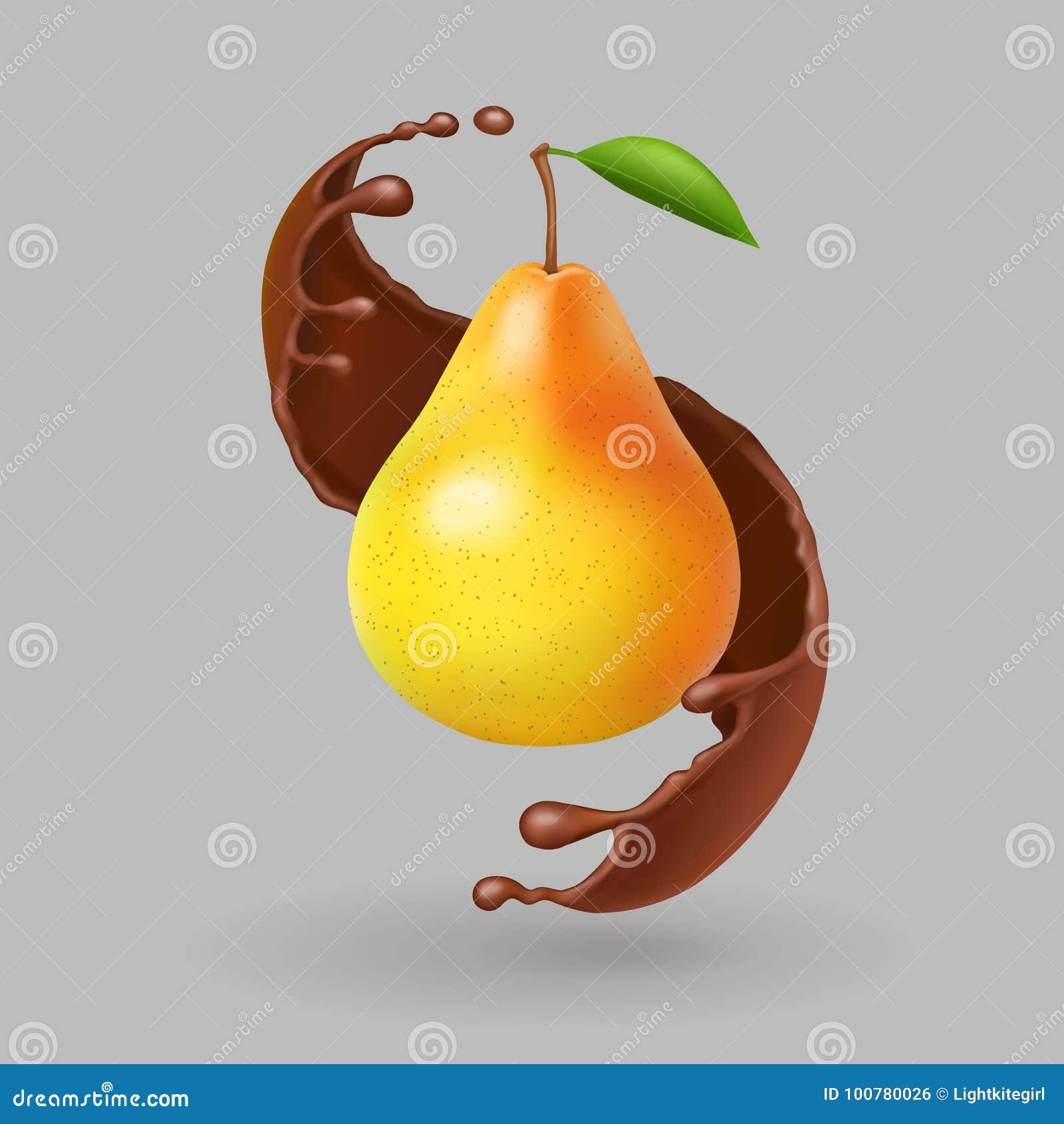 Fruto realístico da pera no respingo do chokolate Vetor