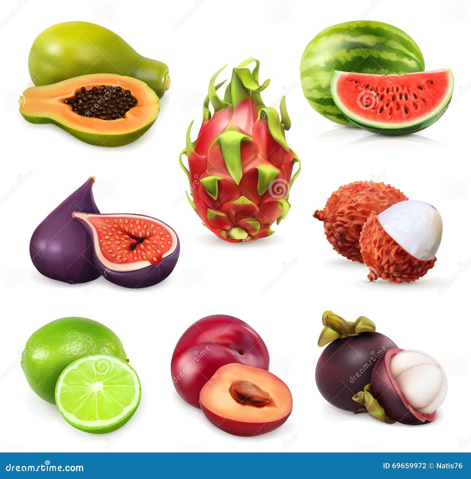 Frutos doces maduros suculentos
