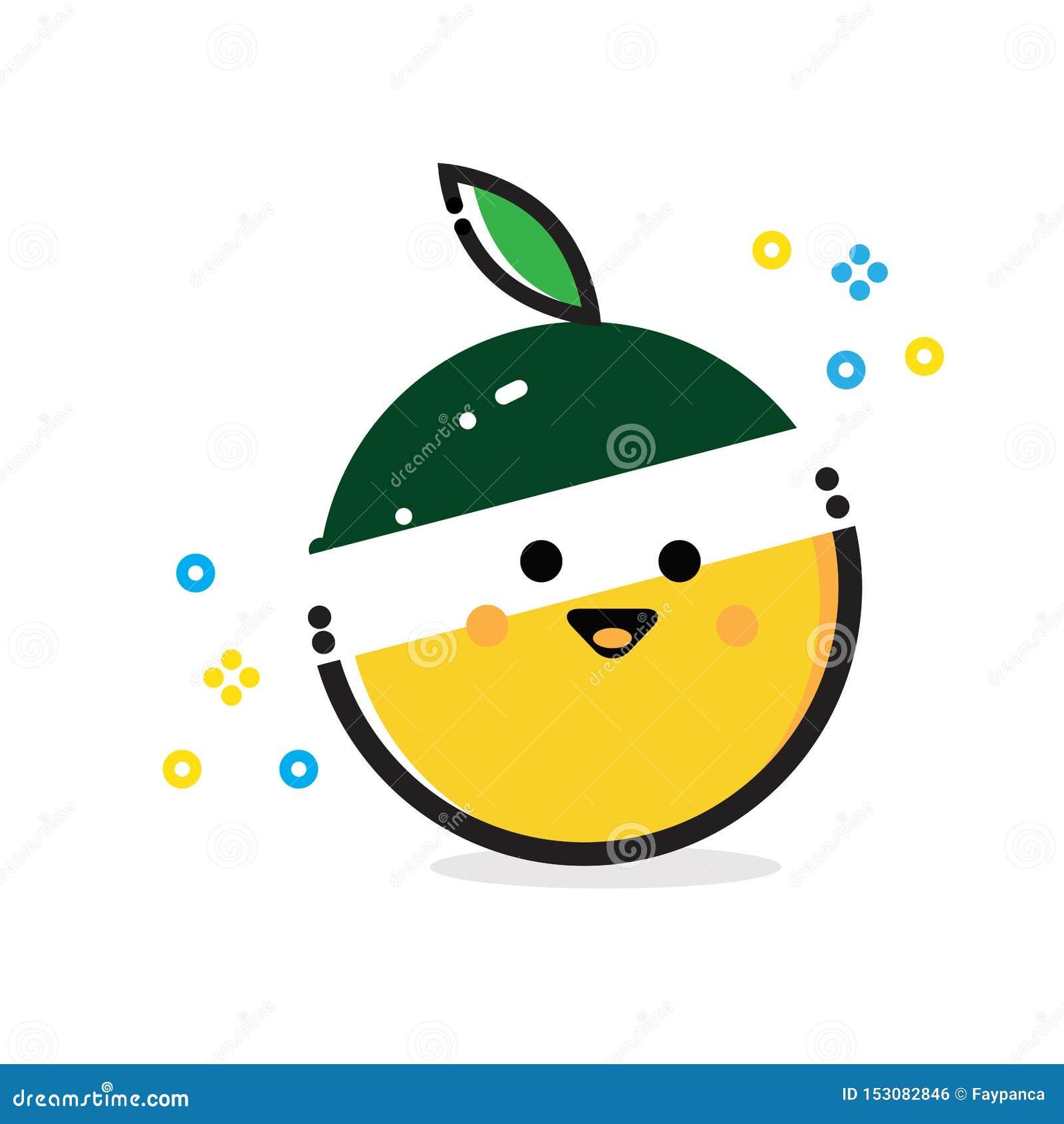 Frutta arancio divertente