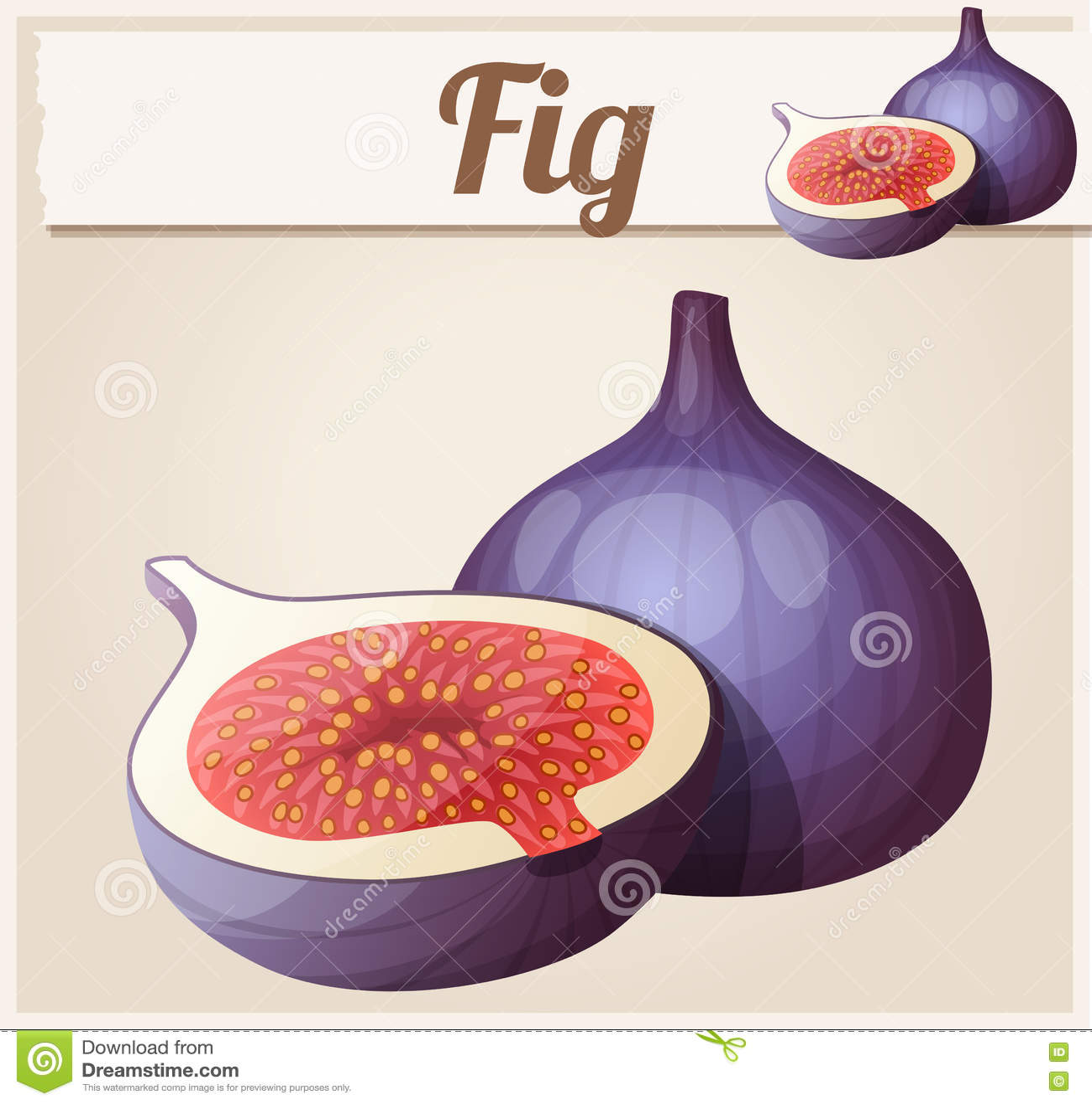 Frutta del fico Icona di vettore del fumetto