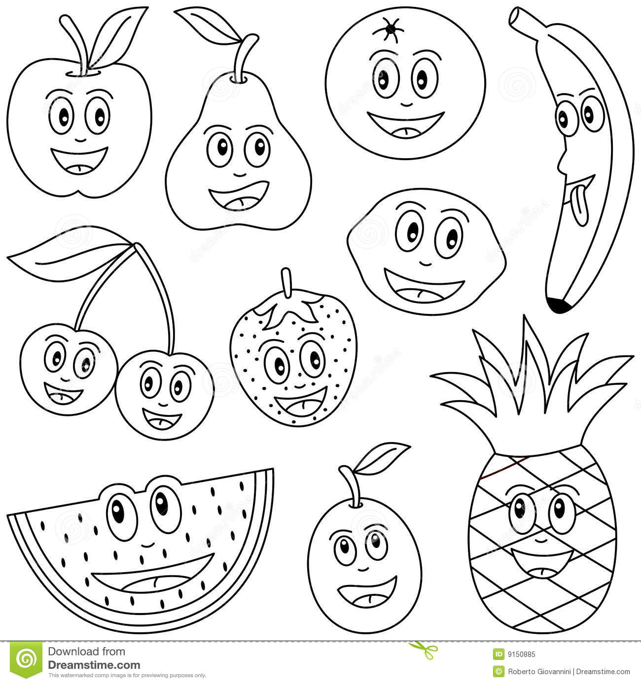 kawaii fruit coloring pages | Frutta Di Coloritura Per I Bambini Illustrazione ...