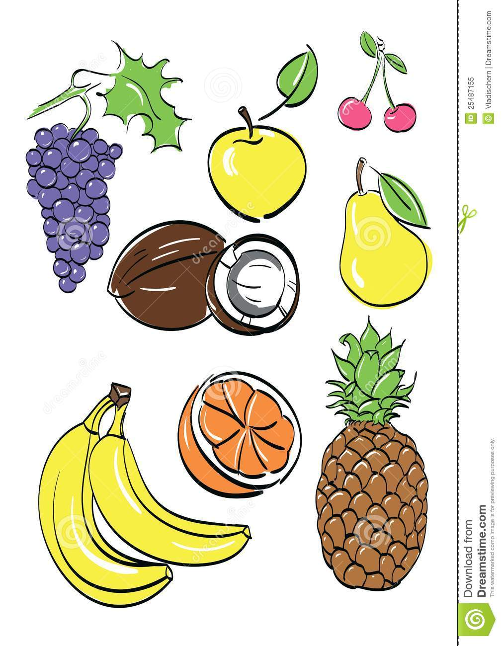 Frutta differente impostata. illustrazione di vettore