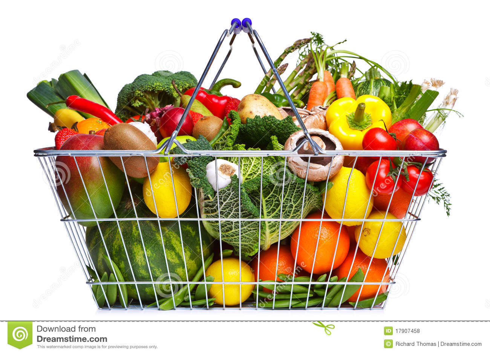Frutta e verdure del cestino isolate su bianco