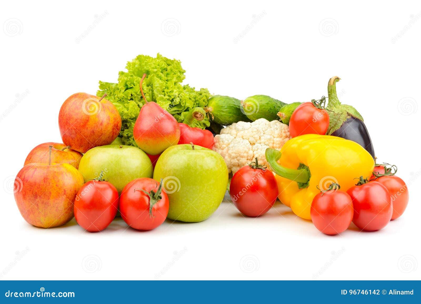 Frutta e verdure isolate su bianco