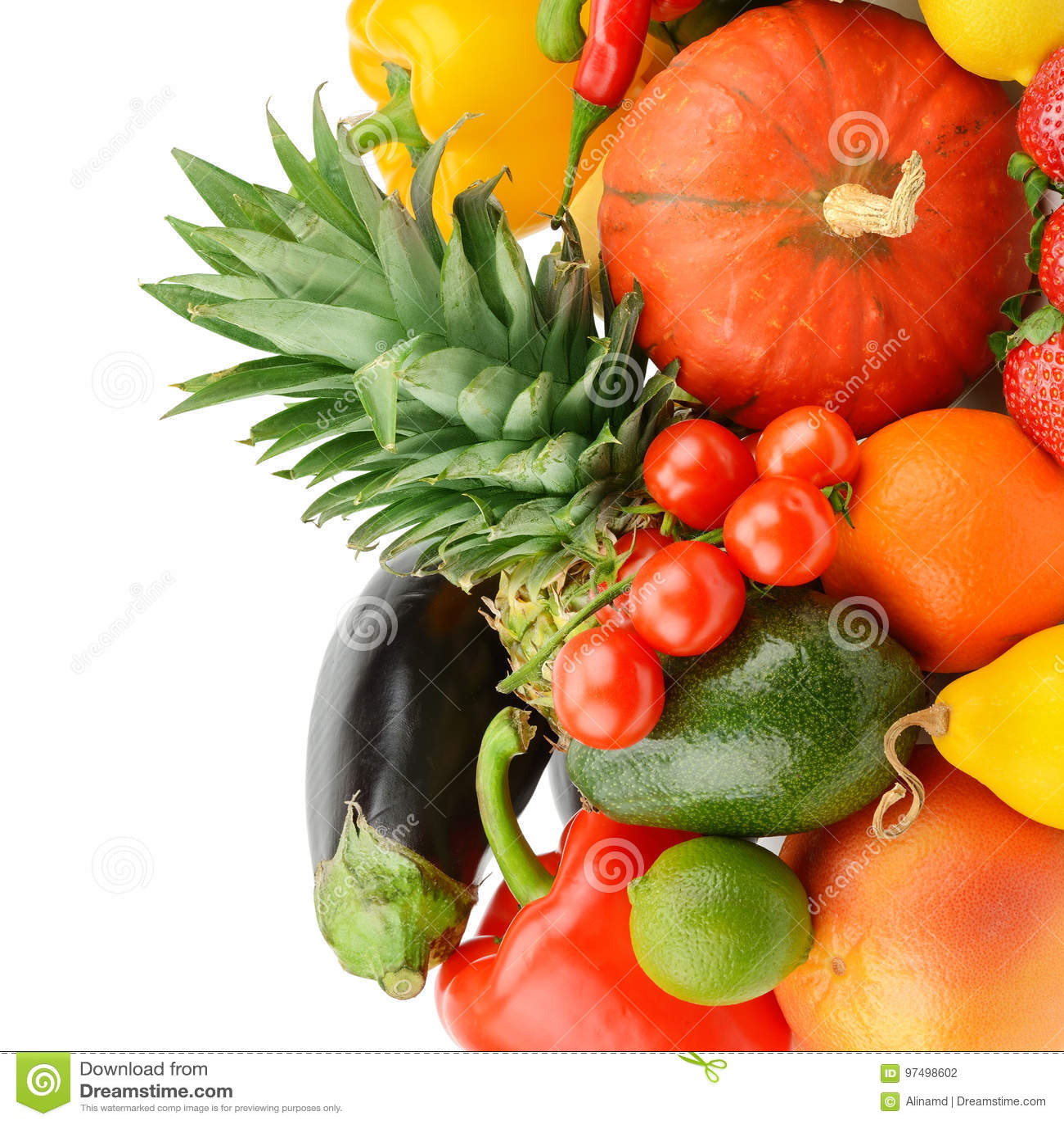 Frutta e verdure isolate su fondo bianco