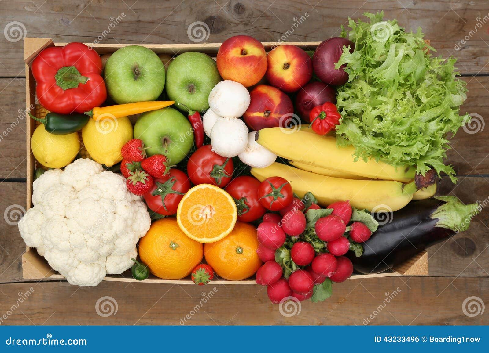 Frutta e verdure sane di cibo in scatola da sopra