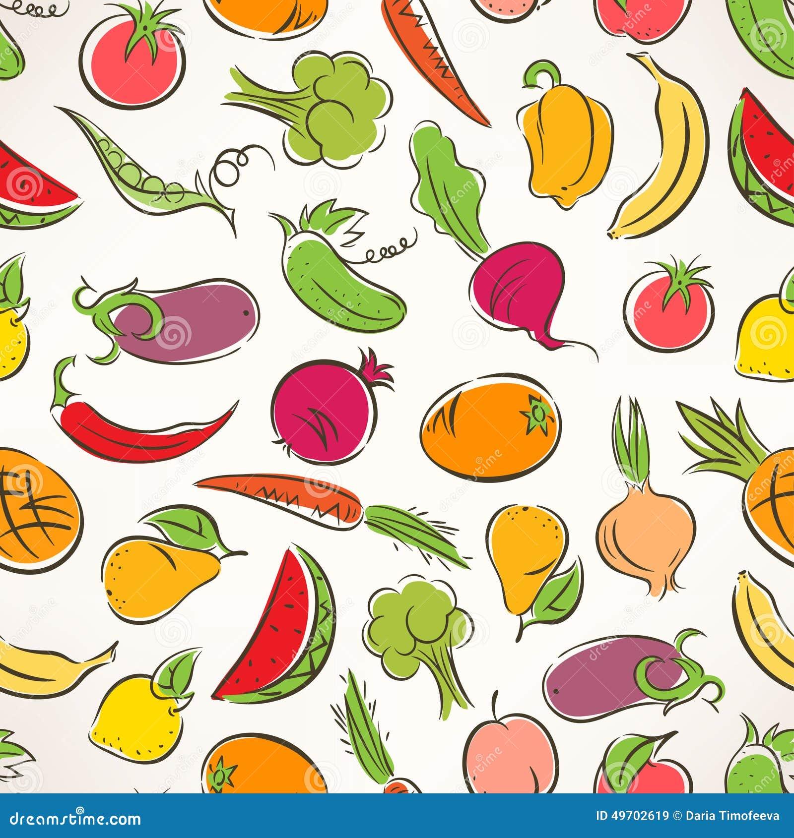 Molto Frutta E Verdure Stilizzate Colorate Illustrazione Vettoriale  MR45