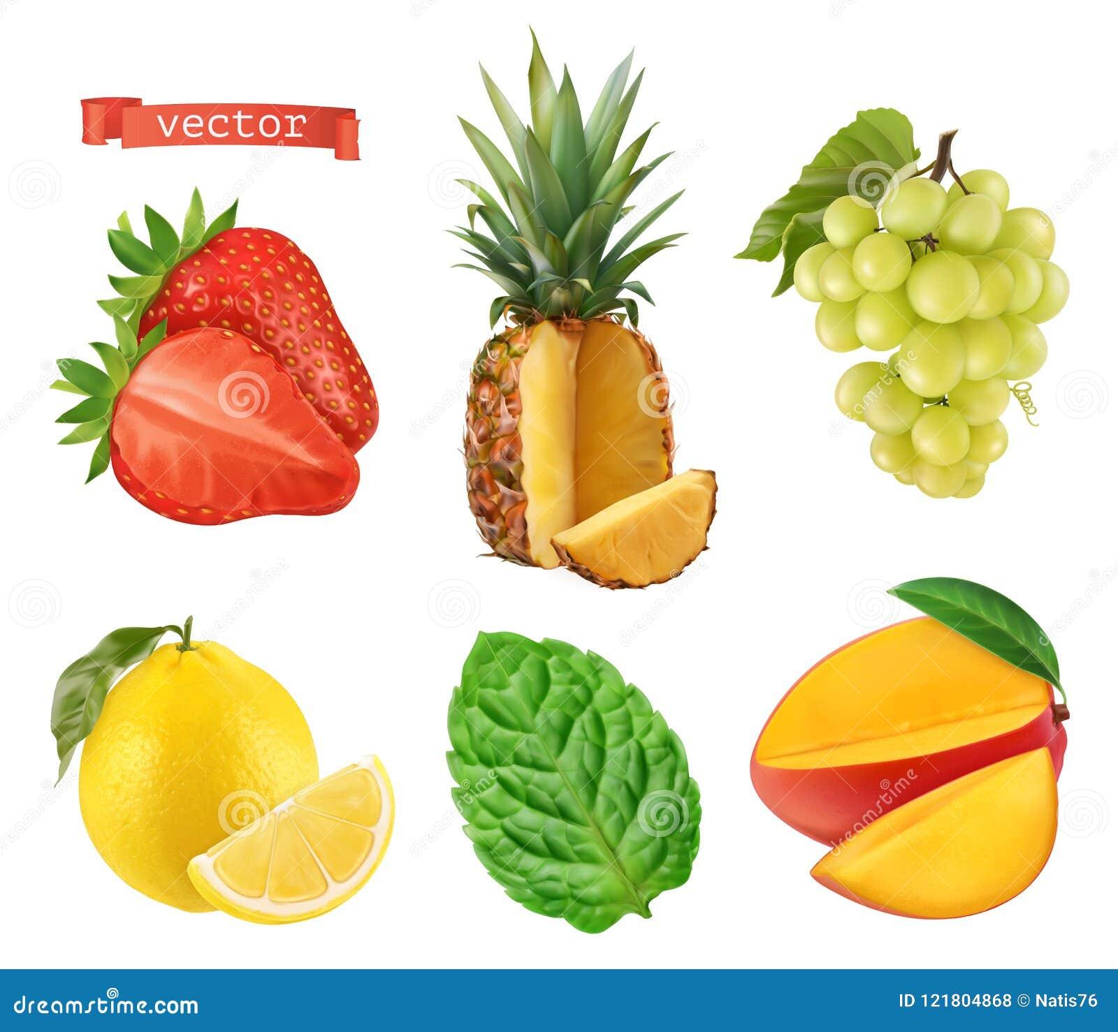 Frutta fresca, icone di vettore 3d messe Illustrazione realistica
