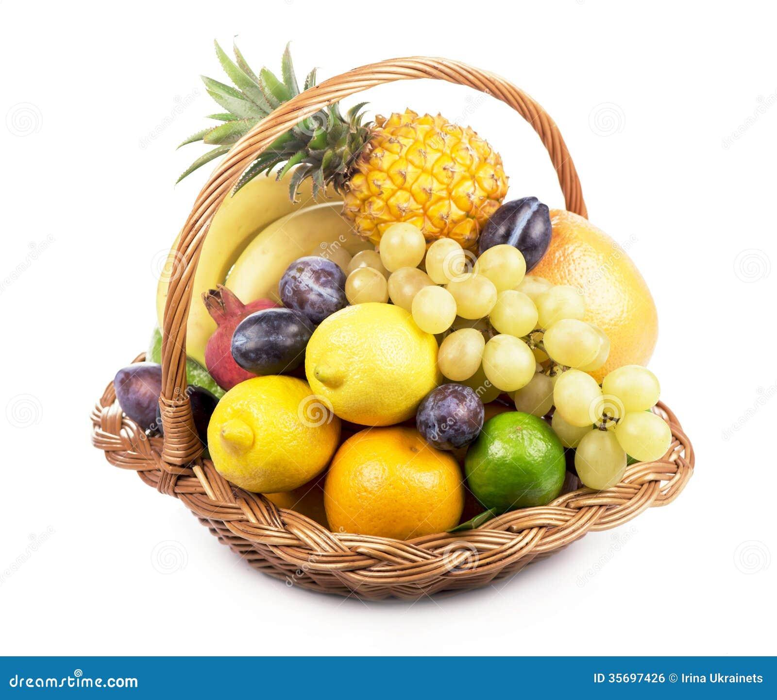 Frutta fresca in un canestro di vimini fotografia stock immagine 35697426 for Cesto di frutta disegno