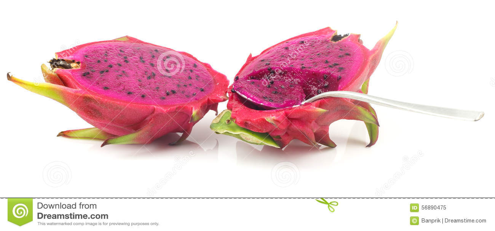 Frutta rossa del drago su bianco