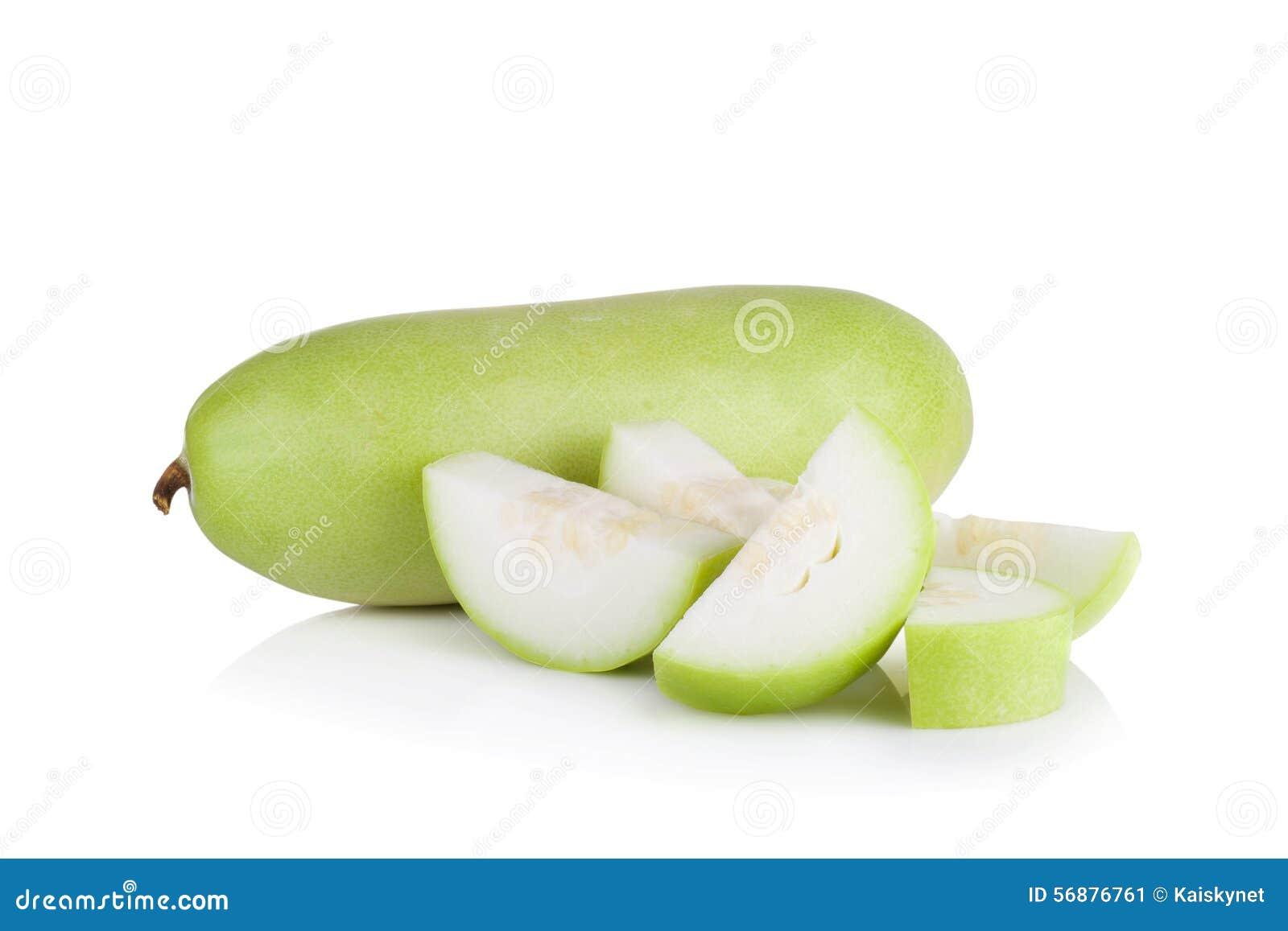 Frutta vulgaris di Lagenaria isolata su fondo bianco