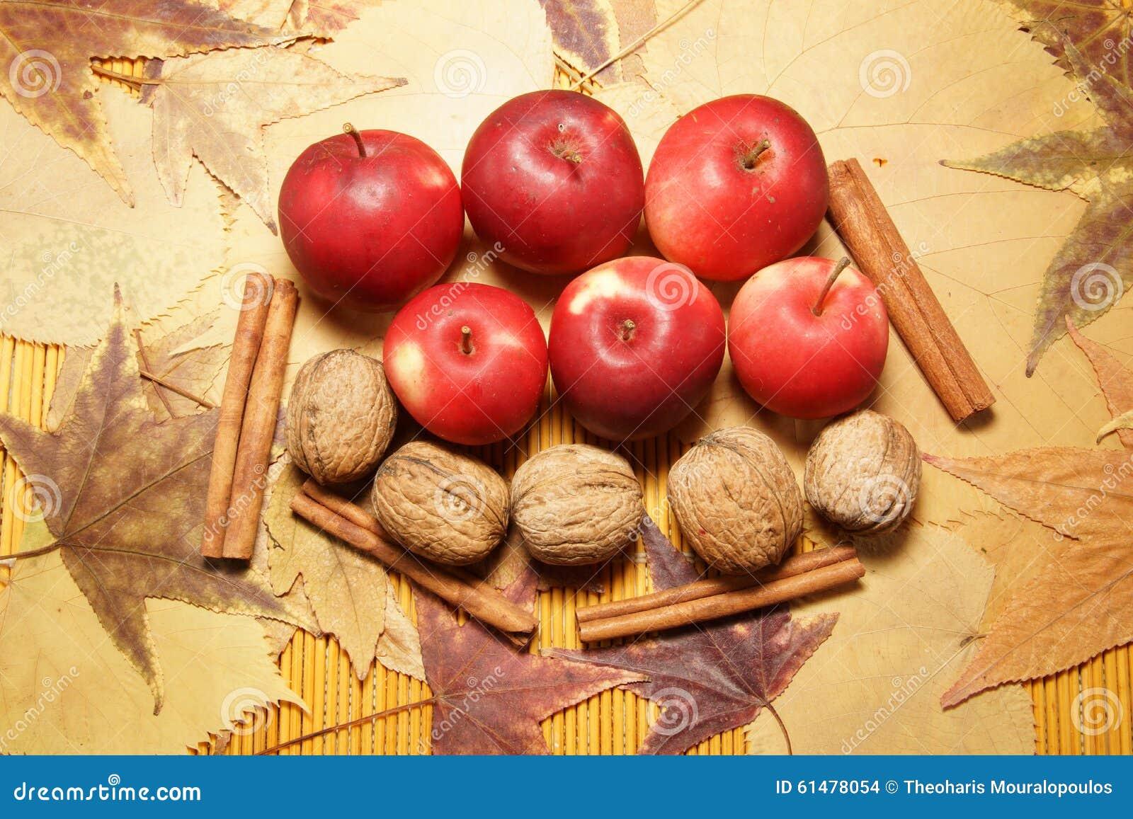 Frutti autunnali sulle foglie
