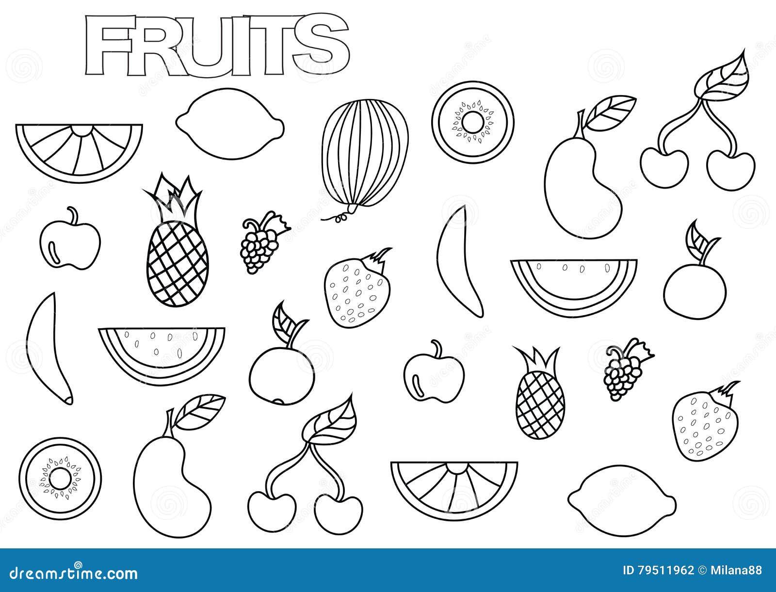 Pagine Da Colorare Per Adulti Libro Modello Astratto: Frutti Disegnati A Mano Messi Modello Della Pagina Del