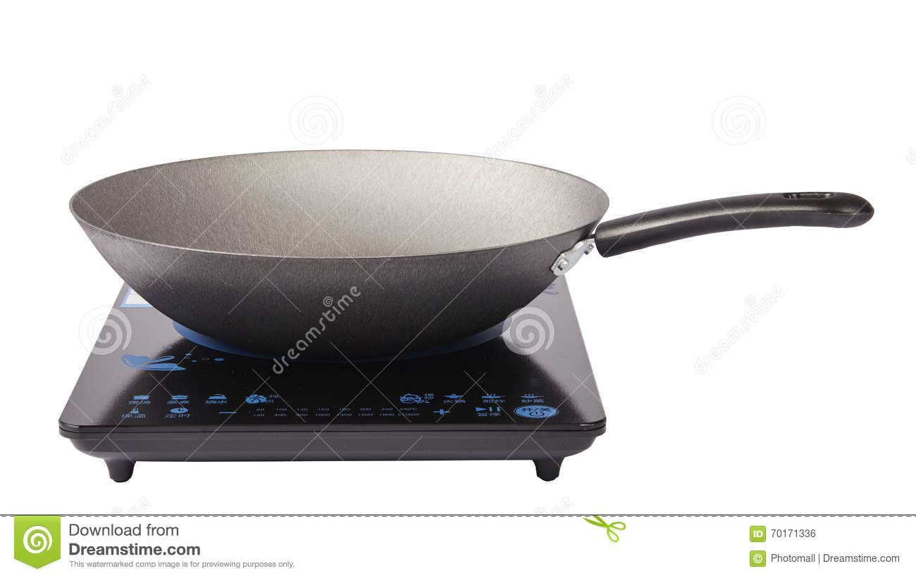 Frying Pan And Cooking Pot At The Induction Stove Stock