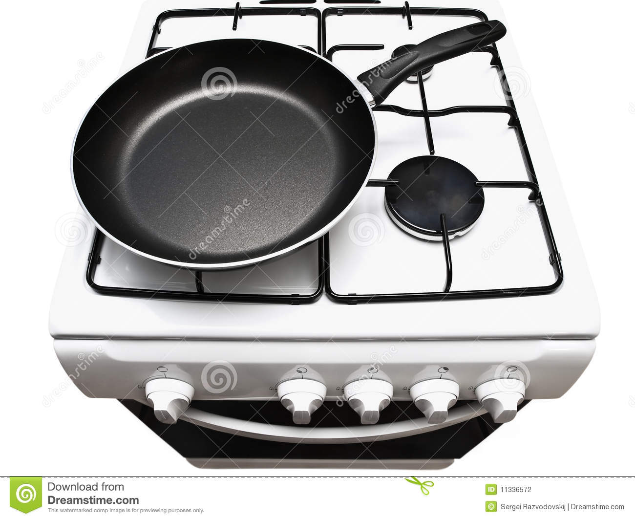 Frying Pan At The Gas Stove Stock Photography Image