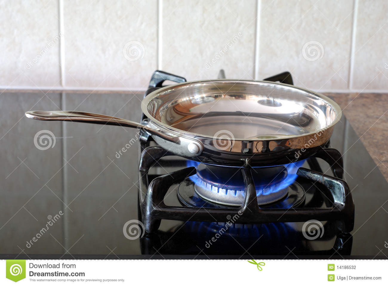 Frying Pan On A Gas Stove Stock Photo Image Of Blue