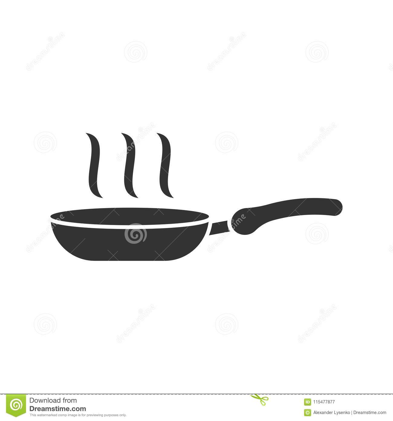 Frying pan icon in flat style. Cooking pan illustration on white