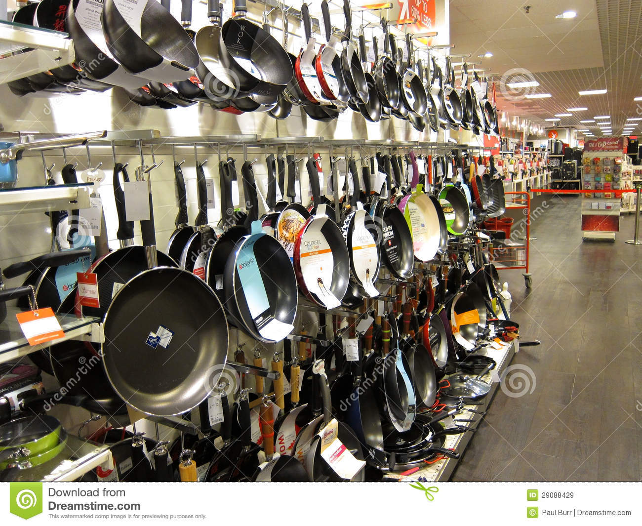 Frying Pans On A Store Display Editorial Stock Image
