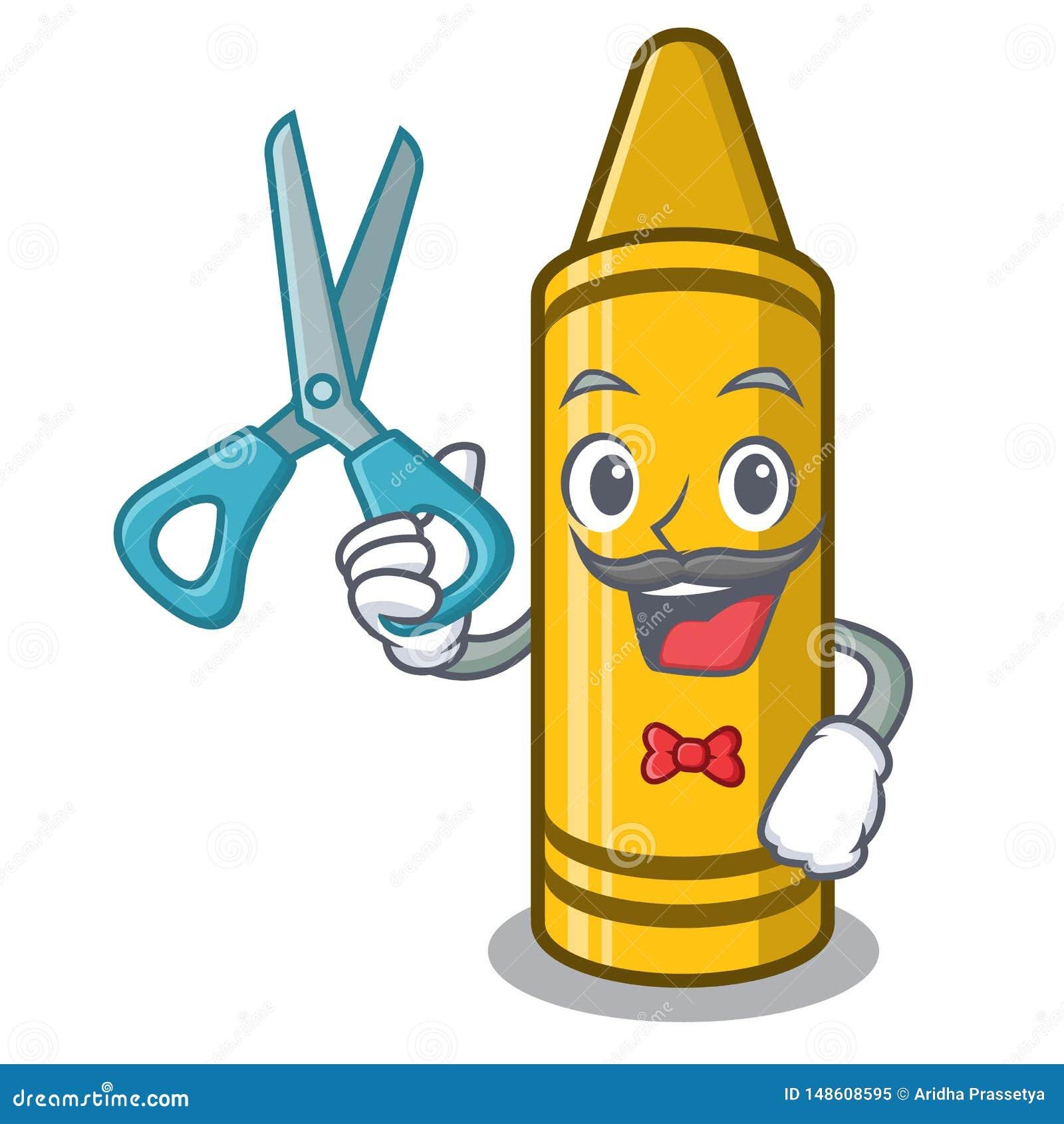 Fryzjer męski żółta kredka w charakteru krześle