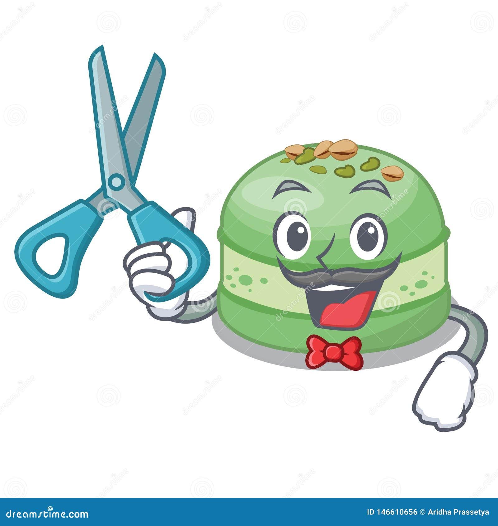 Fryzjer męski pistacji tort w spodeczek kreskówce