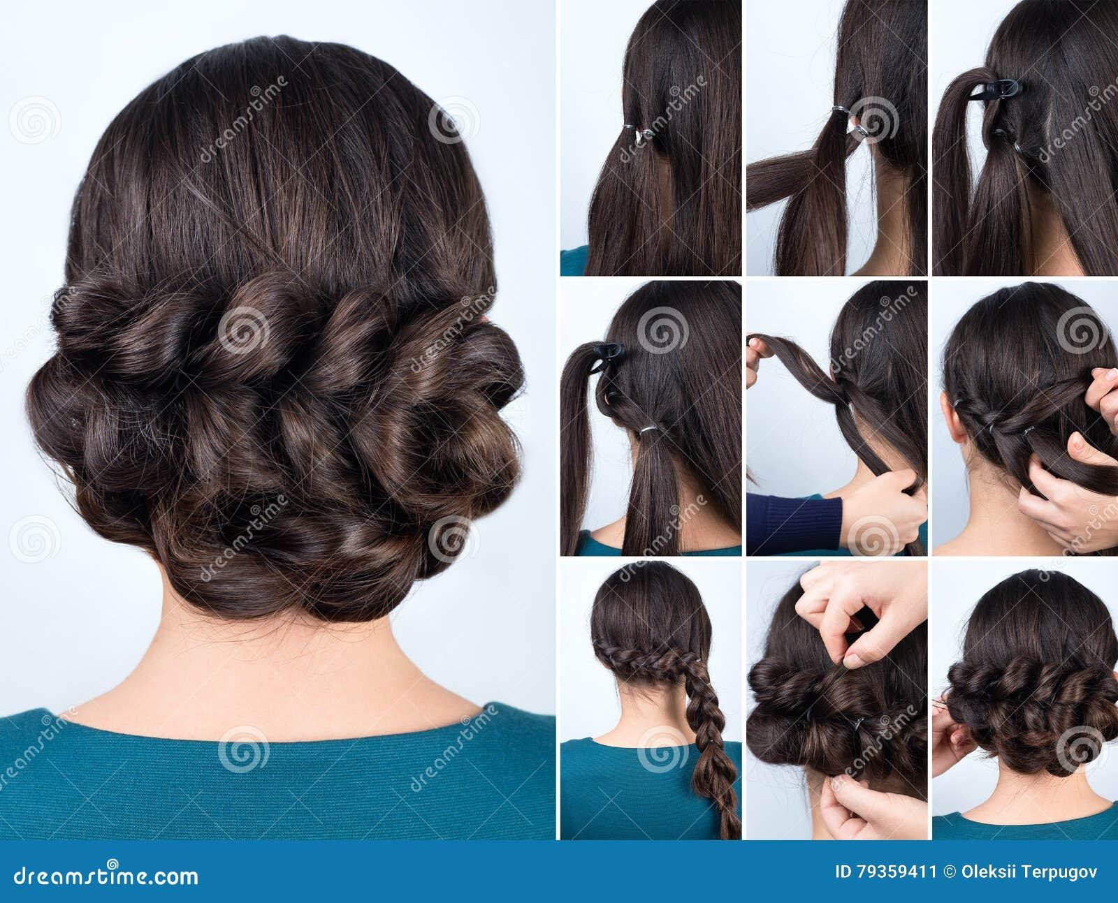 Fryzura Warkocz Dla Długie Włosy Tutorial Obraz Stock