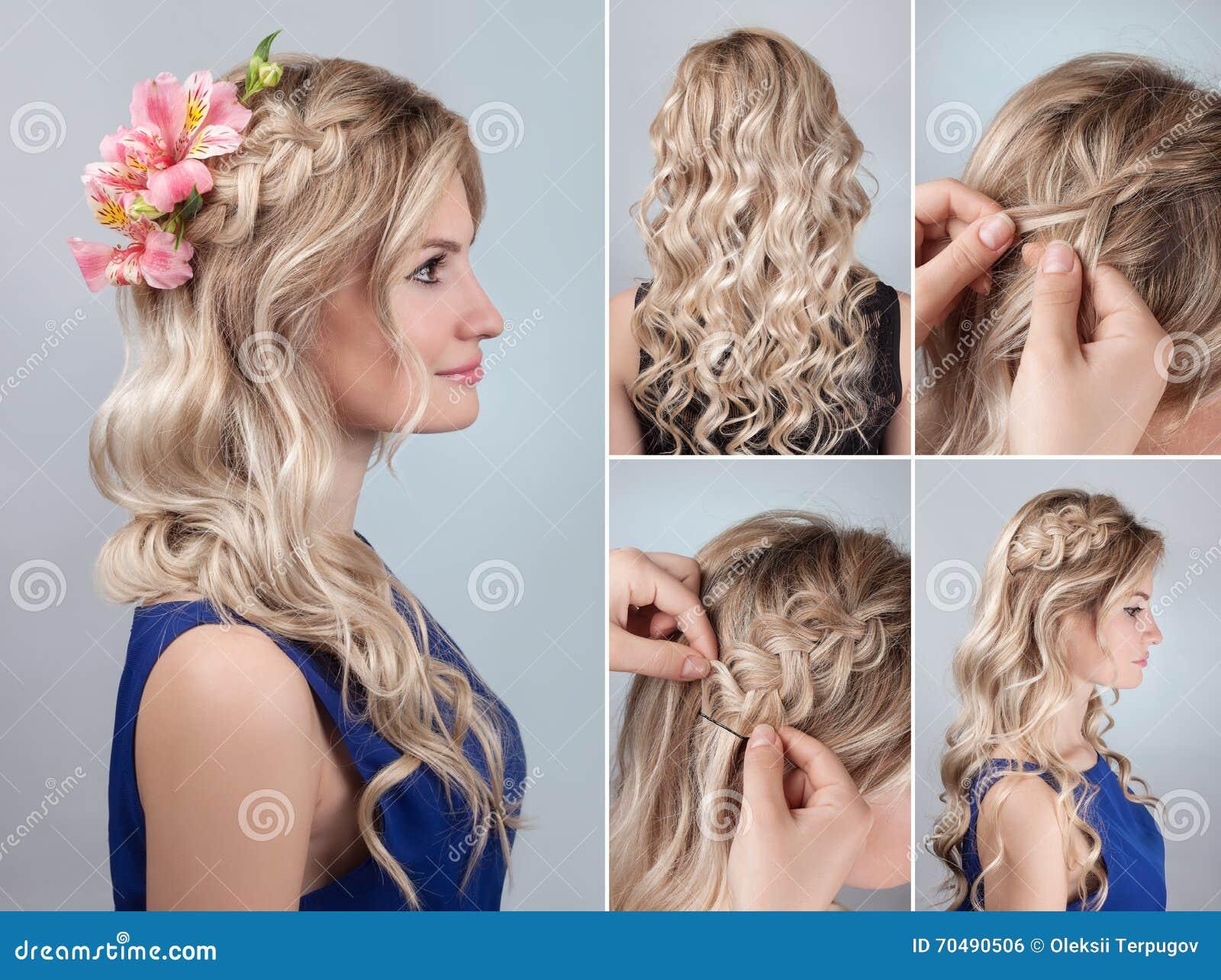 Fryzura Warkocz Z świeżymi Kwiatami Tutorial Zdjęcie Stock