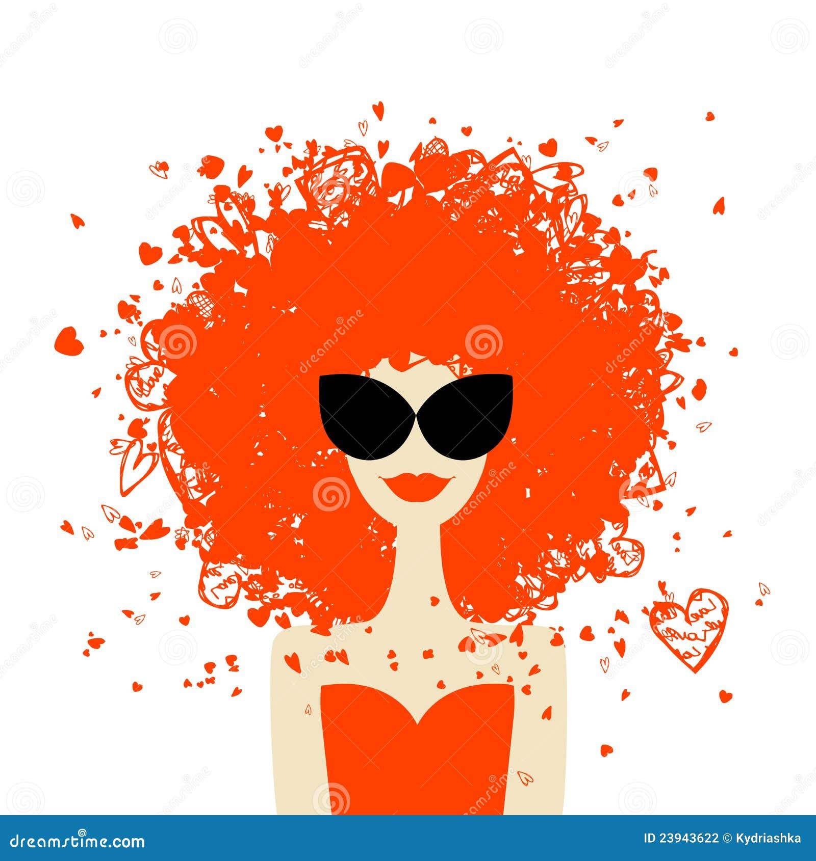 Fryzury pomarańczowa portreta stylu lato kobieta