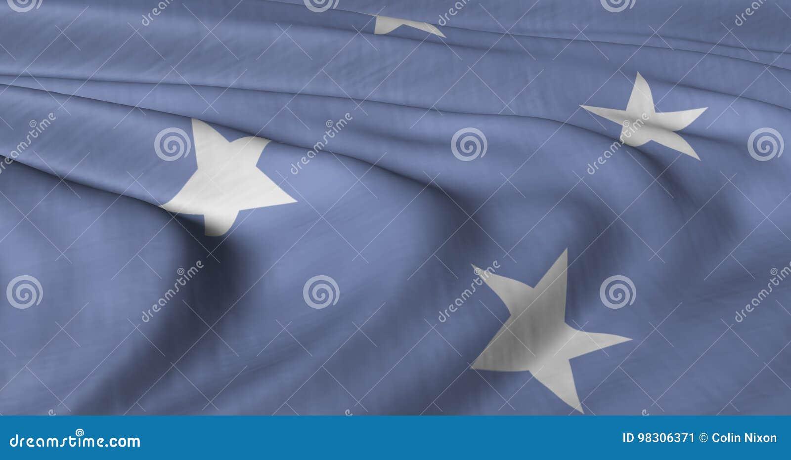 FS de drapeau de la Micronésie flottant dans le bre léger