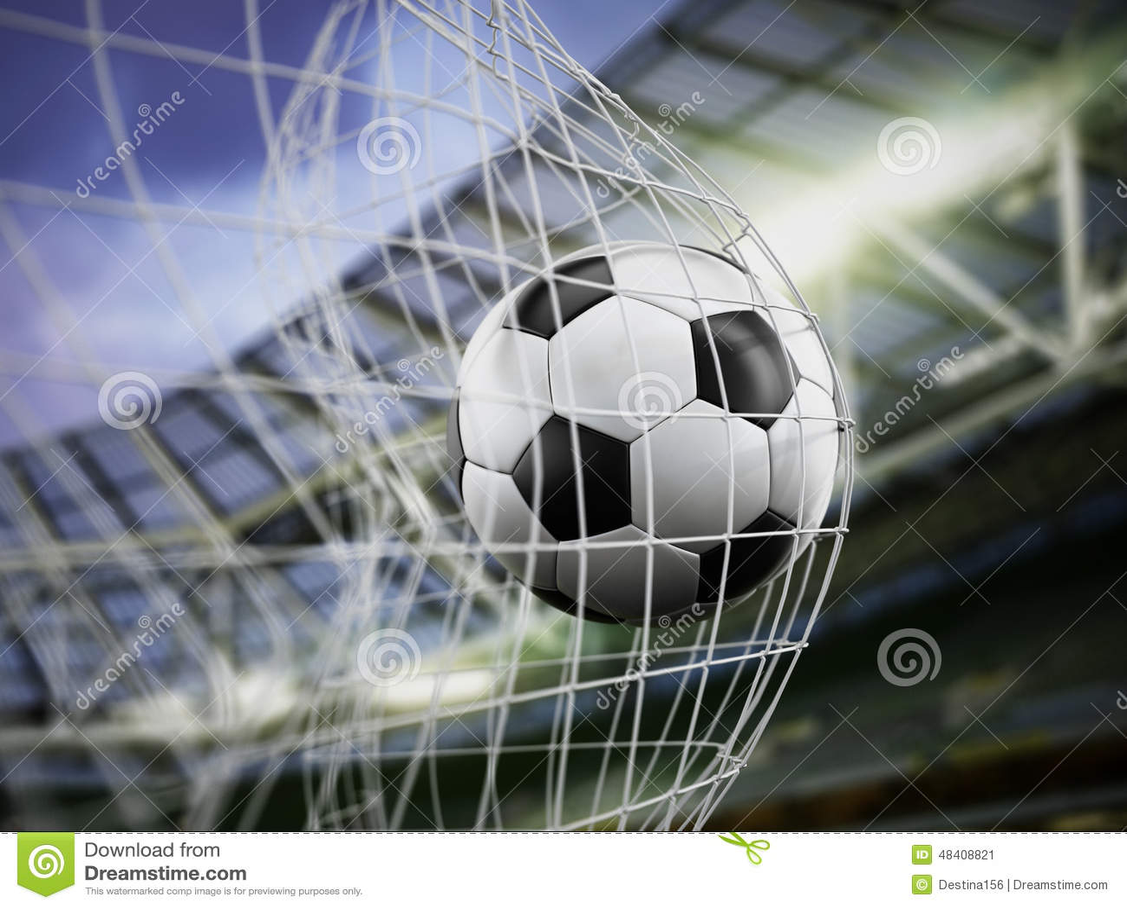 Fussball Auf Dem Netz Stockbild Bild Von Schlag