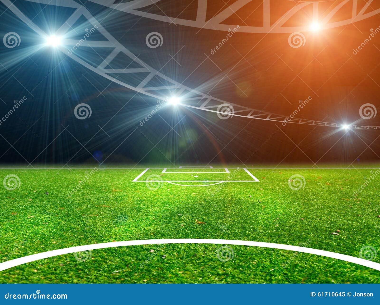 Fussball Auf Grunem Stadion Arena In Der Nacht Belichtet