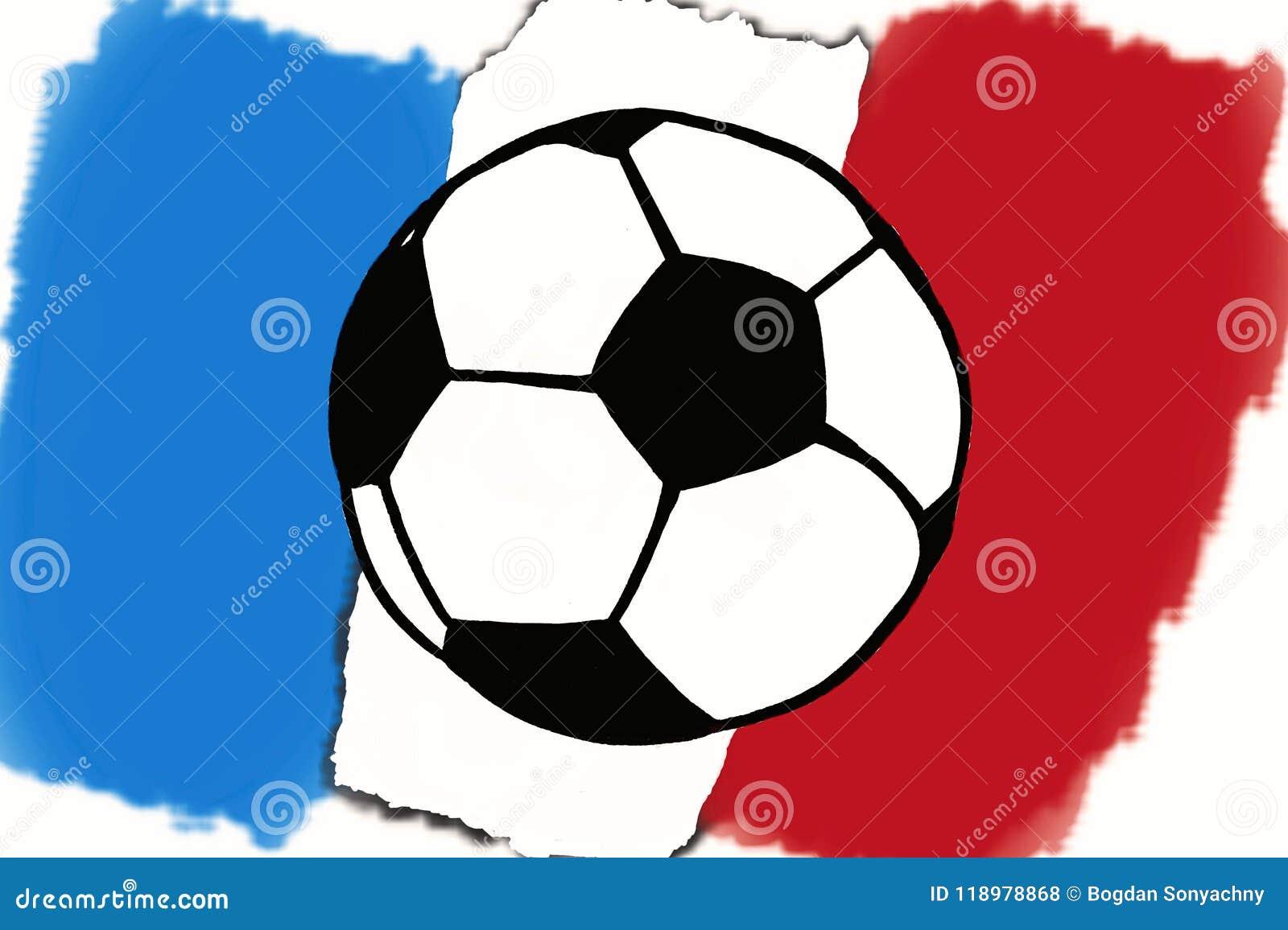 Fussball Ball Und Frankreich Kennzeichnet Hand Gezeichnete