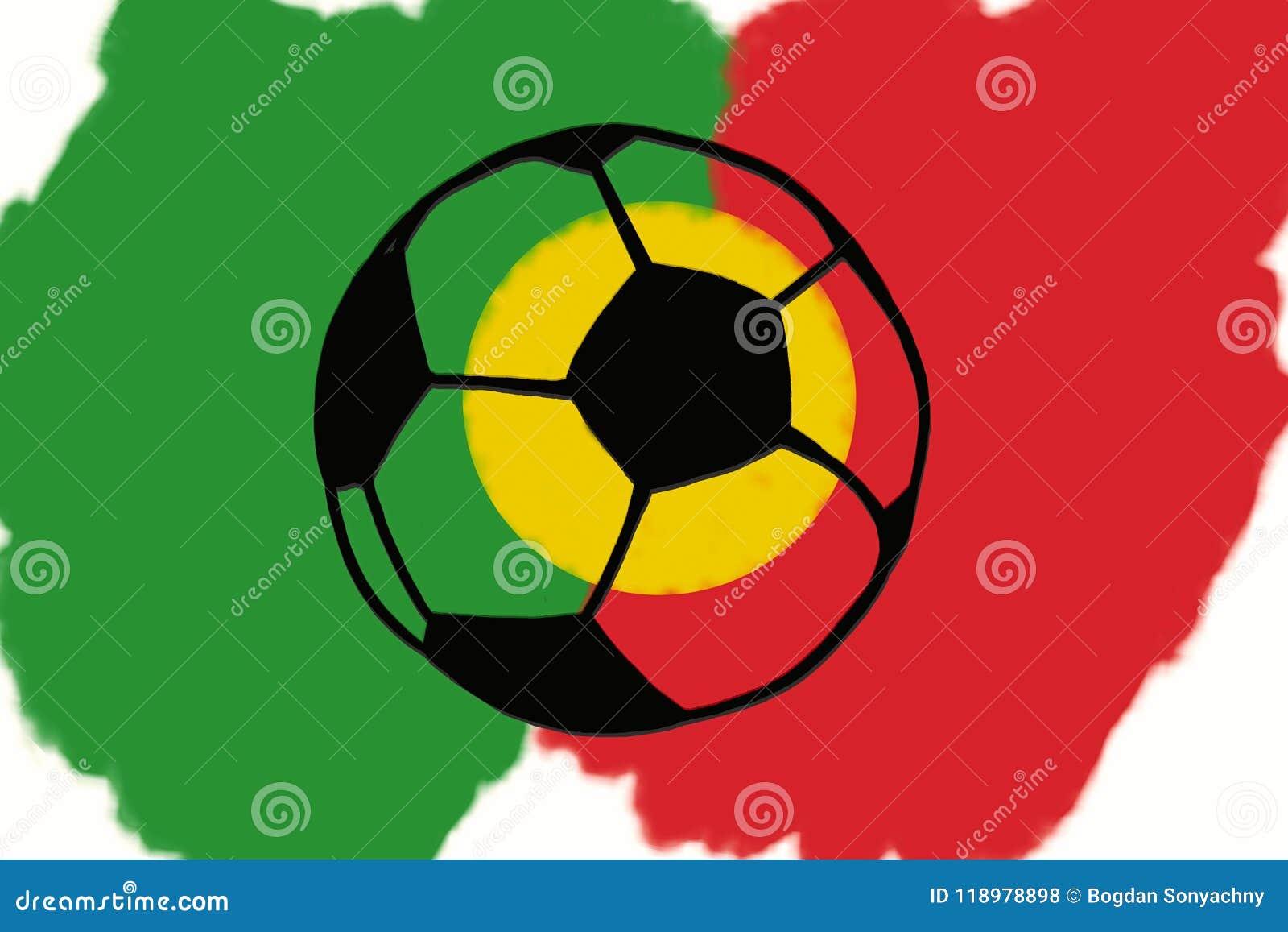 Fussball Ball Und Portugal Kennzeichnen Hand Gezeichnete