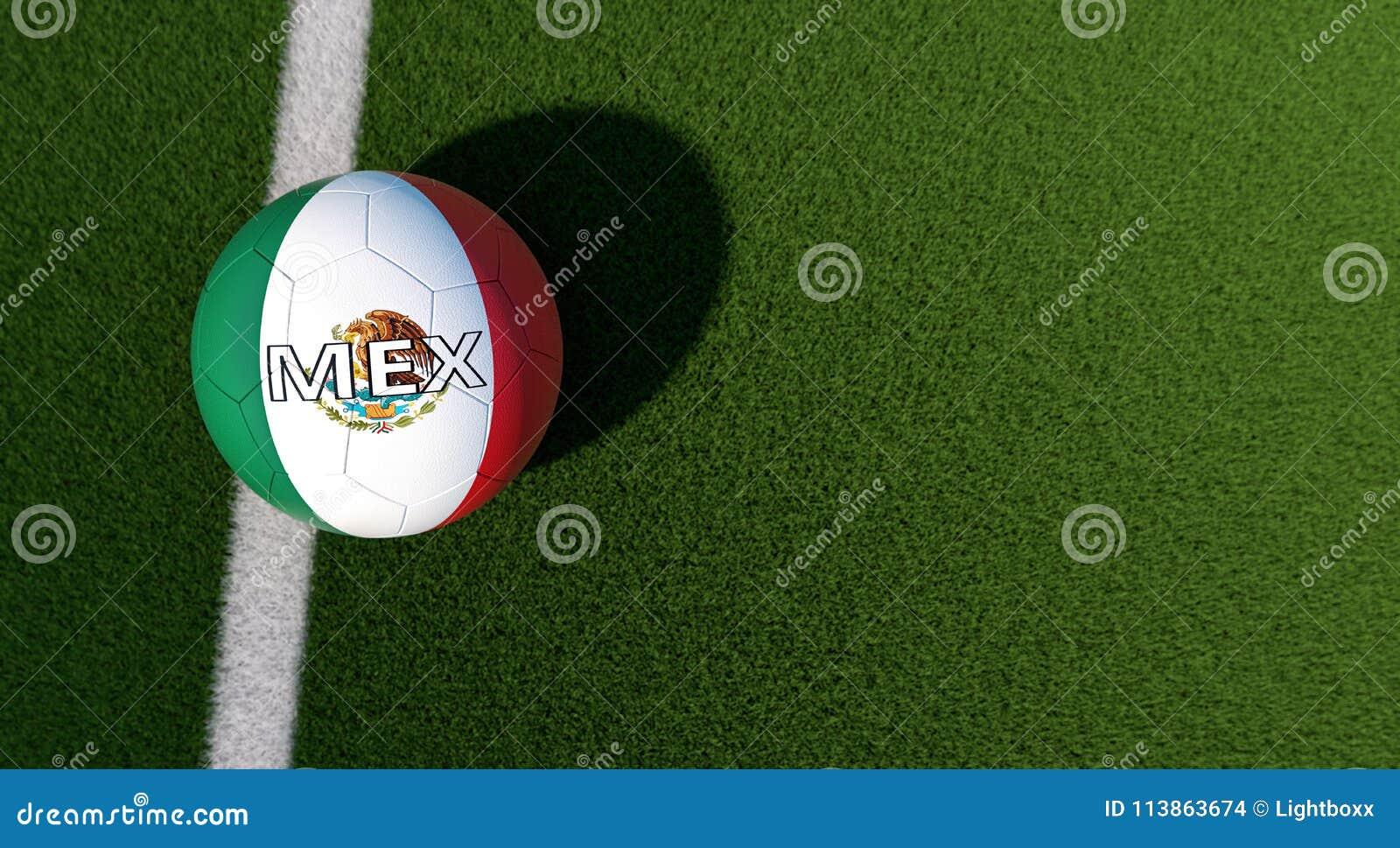 Fußball In Den Mexikanischen Nationalen Farben Auf Einem ...