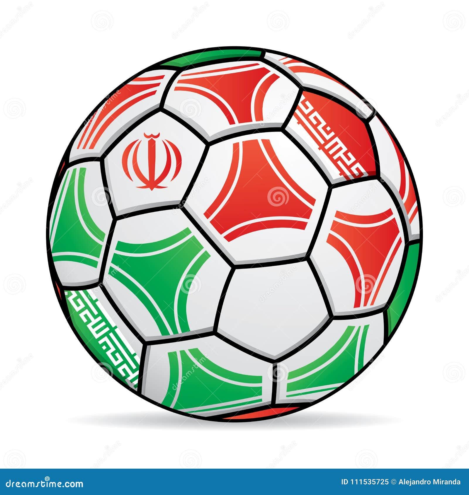 Fußball Mit Den Farben Der Der Iran-Flagge Vektor Abbildung ...
