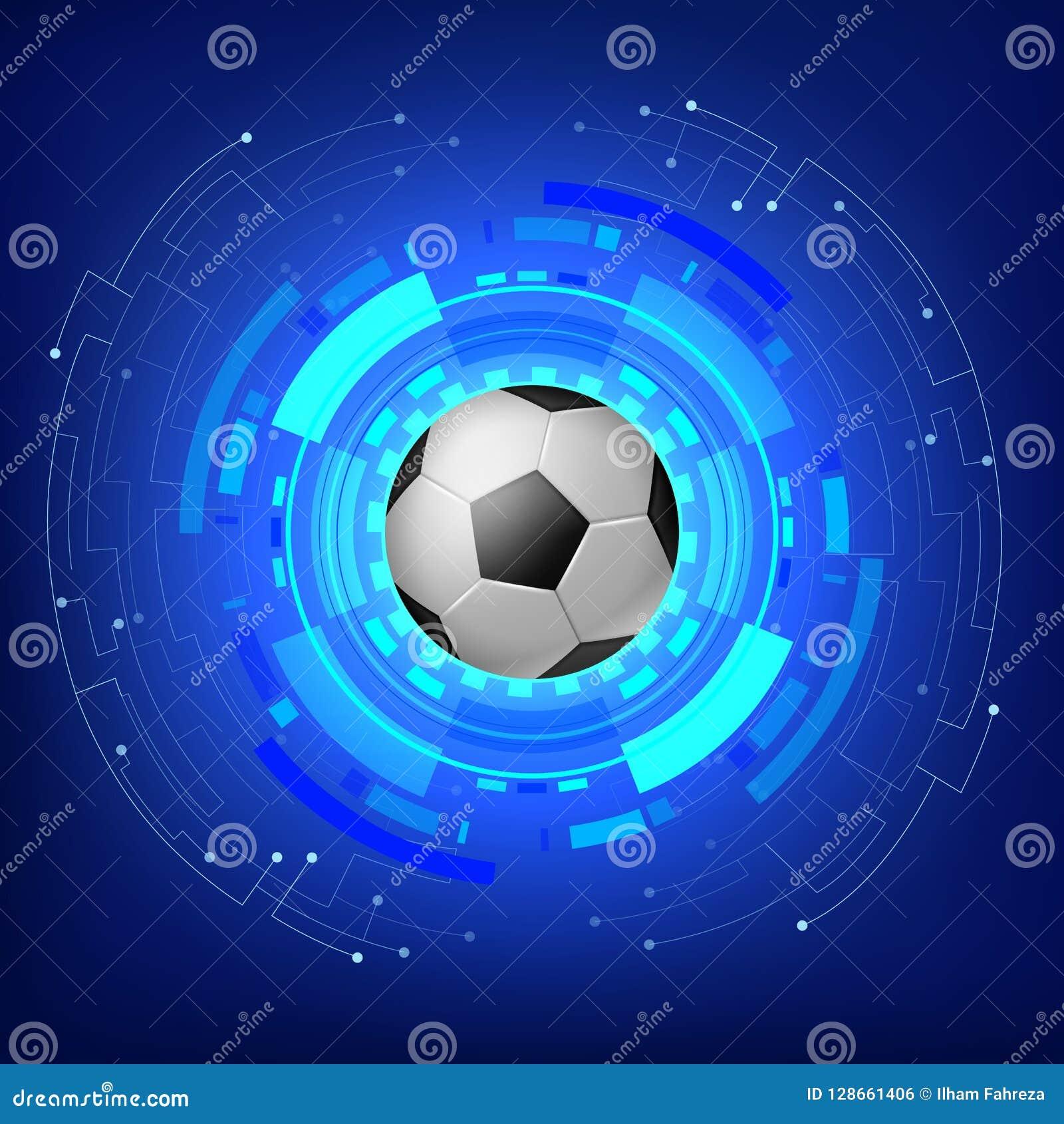 Fußball mit modernem Hintergrund der Technologie
