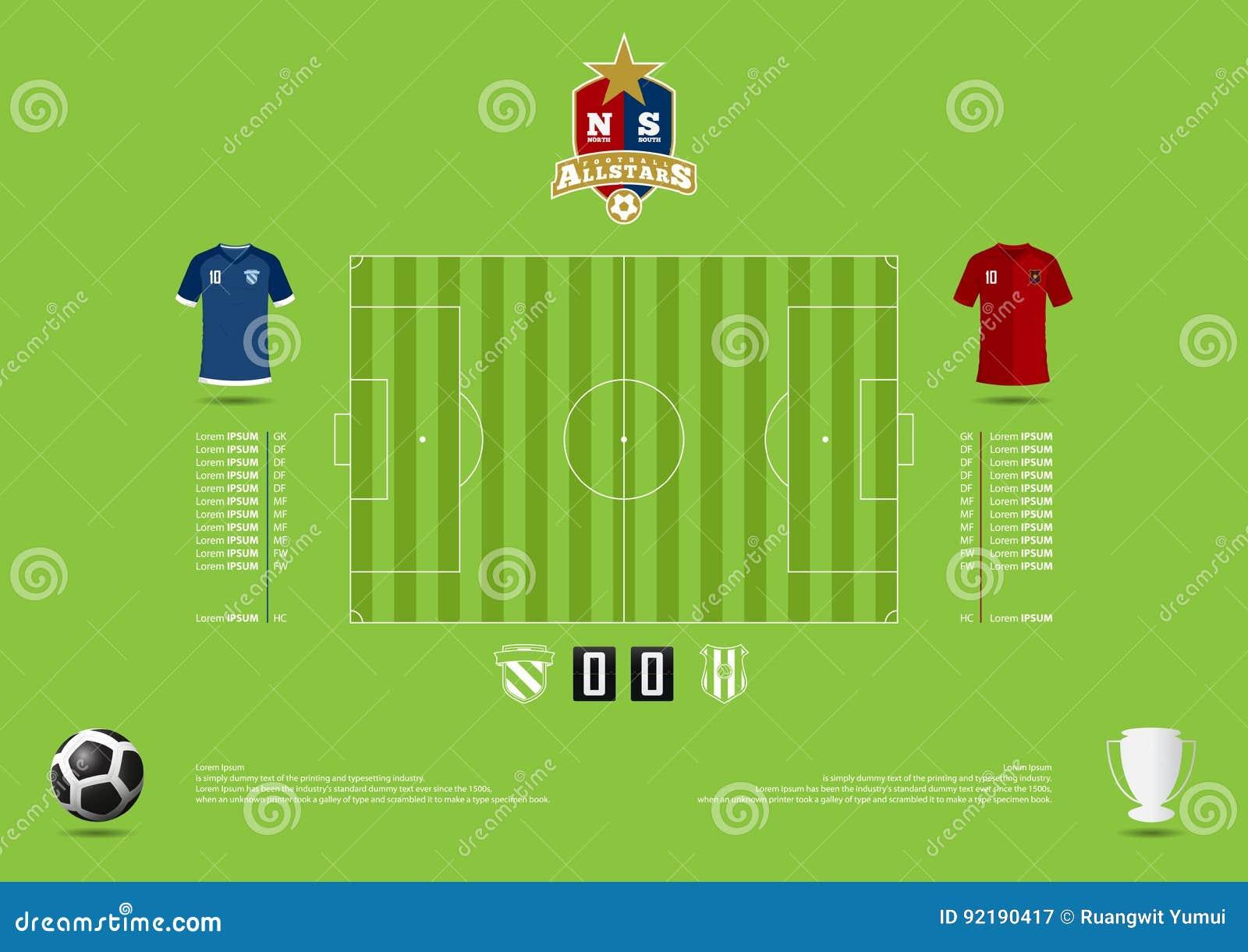Fußball- oder Fußballspielstatik infographic Fußballbildungstaktik Formate ENV und Jpg Flaches Design Vektor