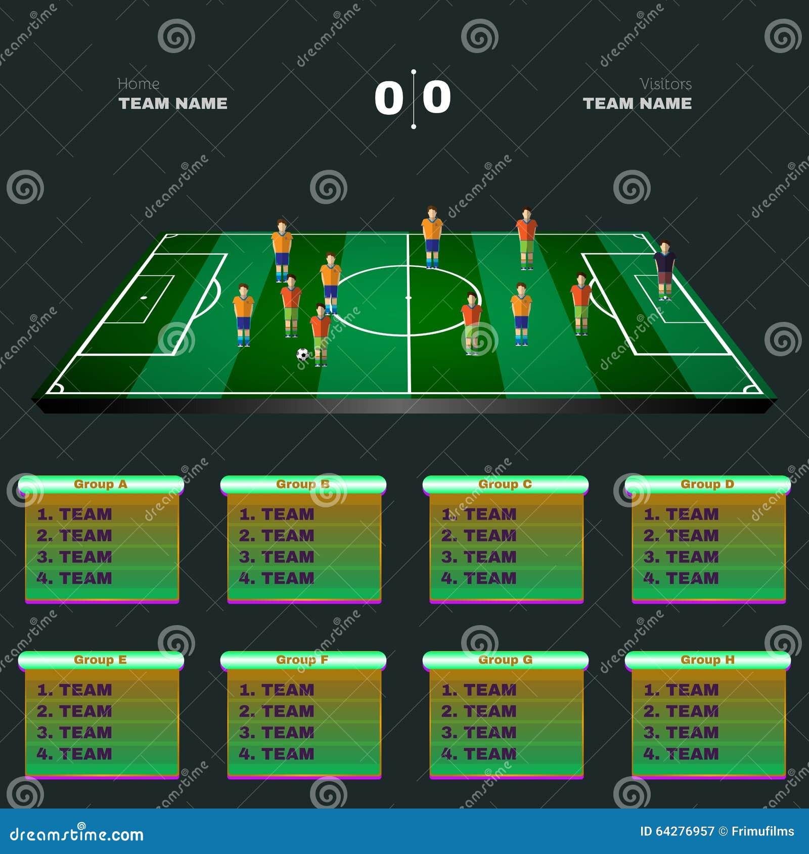 Fußball Spieler Positionen Auf Einem Playfield Vektor Abbildung