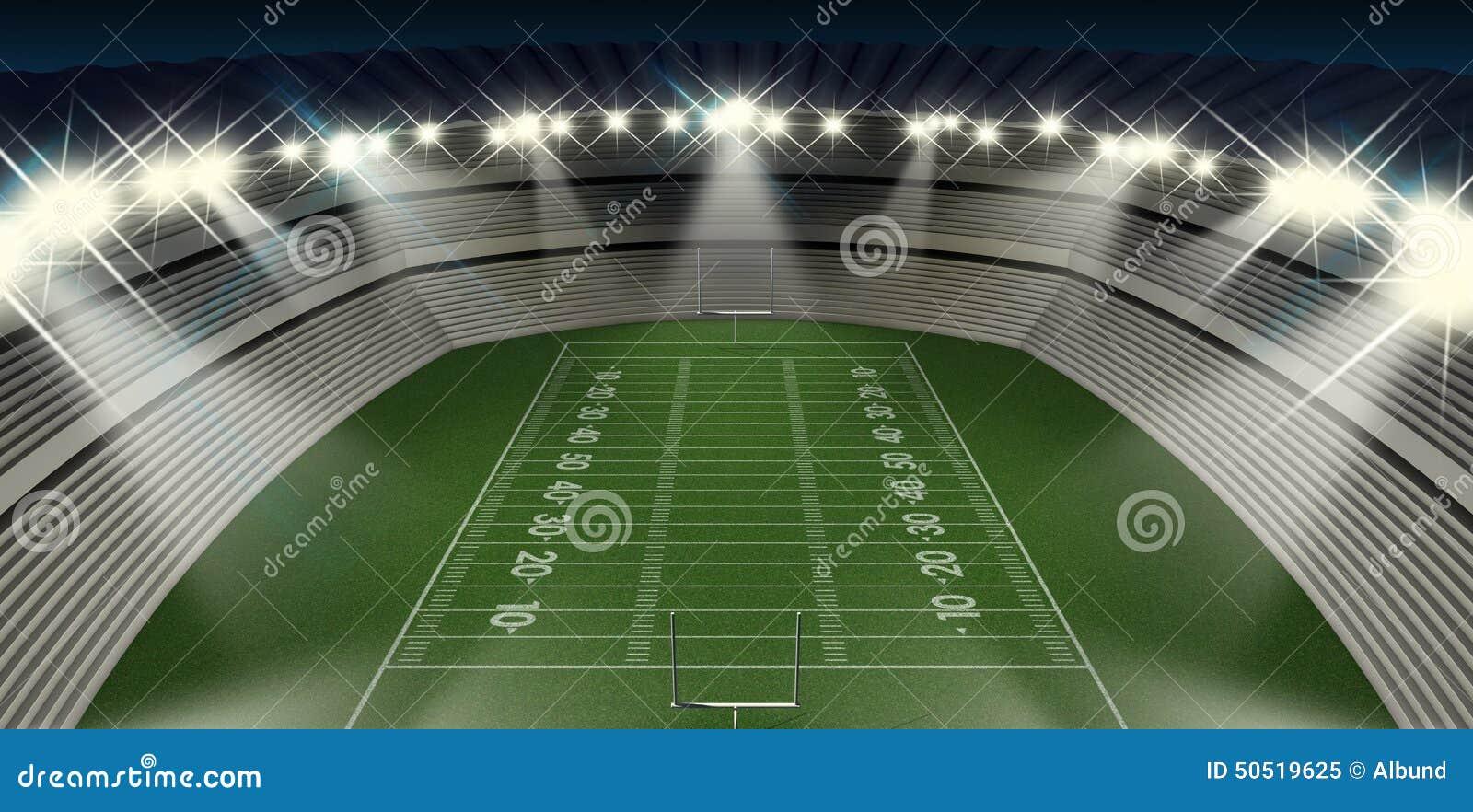 Fussball Stadions Nacht Stock Abbildung Illustration Von