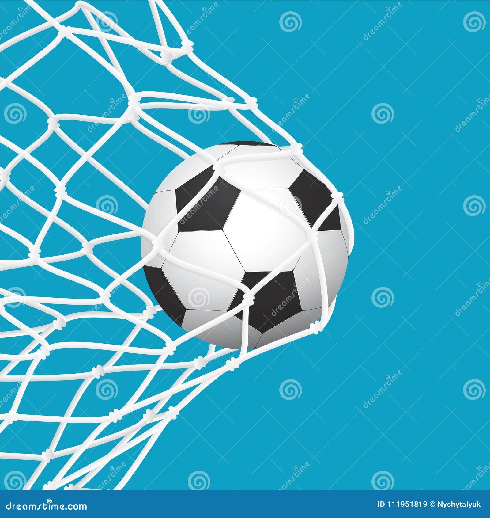 Fussball Fussball Ziel Ball Im Netz Auf Blauem Hintergrund