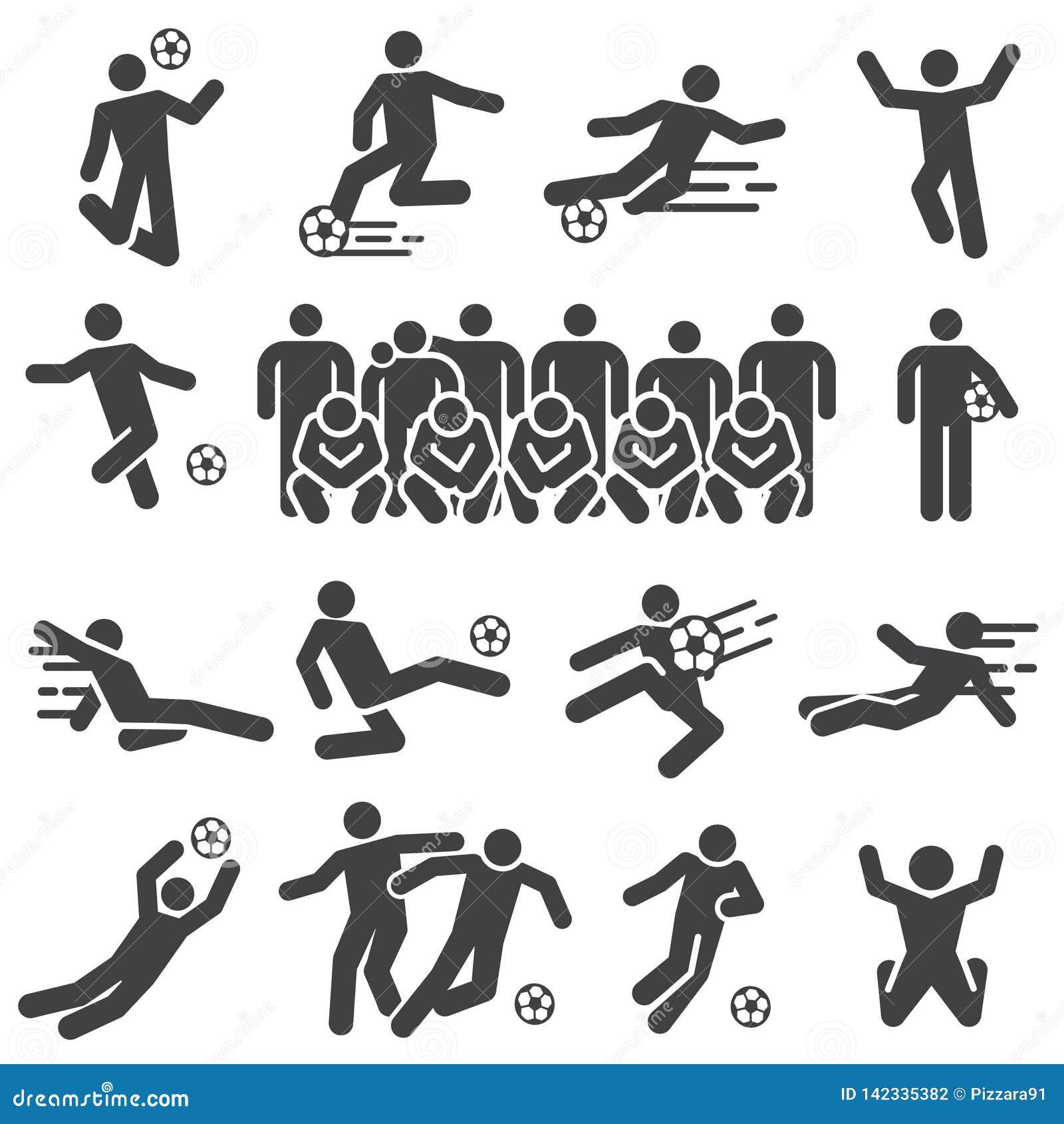 Fußballfußballsportspieler-Ikonensatz