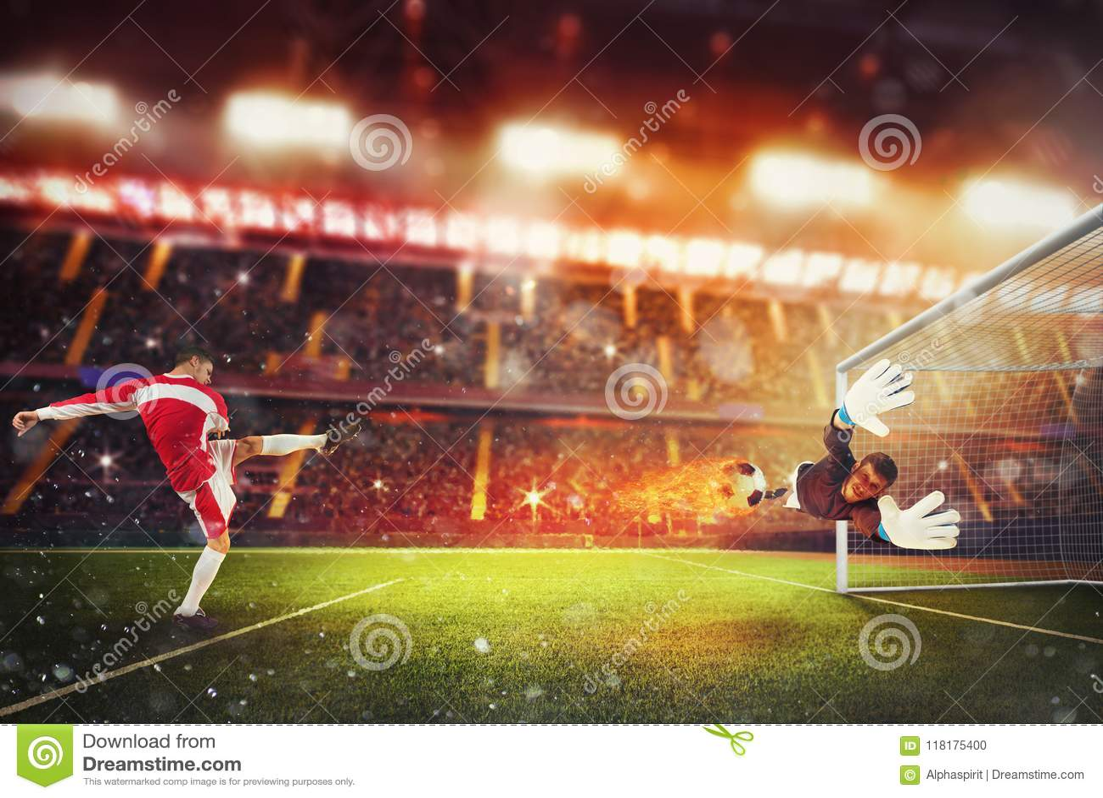 Fußballschlaggerät schlägt den Ball mit genügender Energie, auf Feuer zu gehen