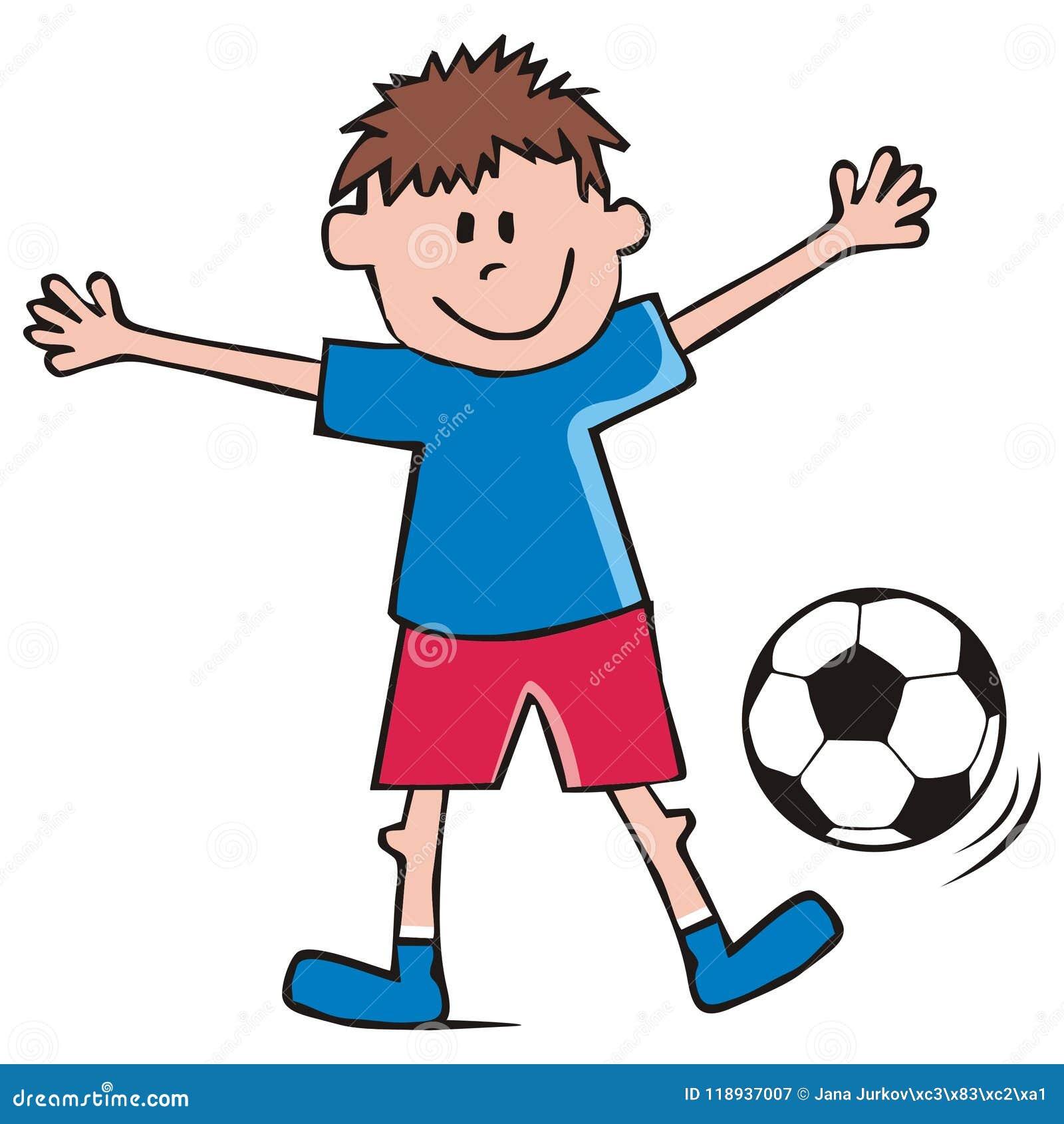 fußballspieler junge und fußball lustige vektorikone