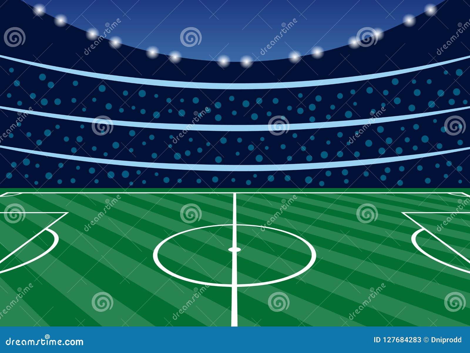 Fussballstadion Mit Tribunen Am Abend Vektor Abbildung