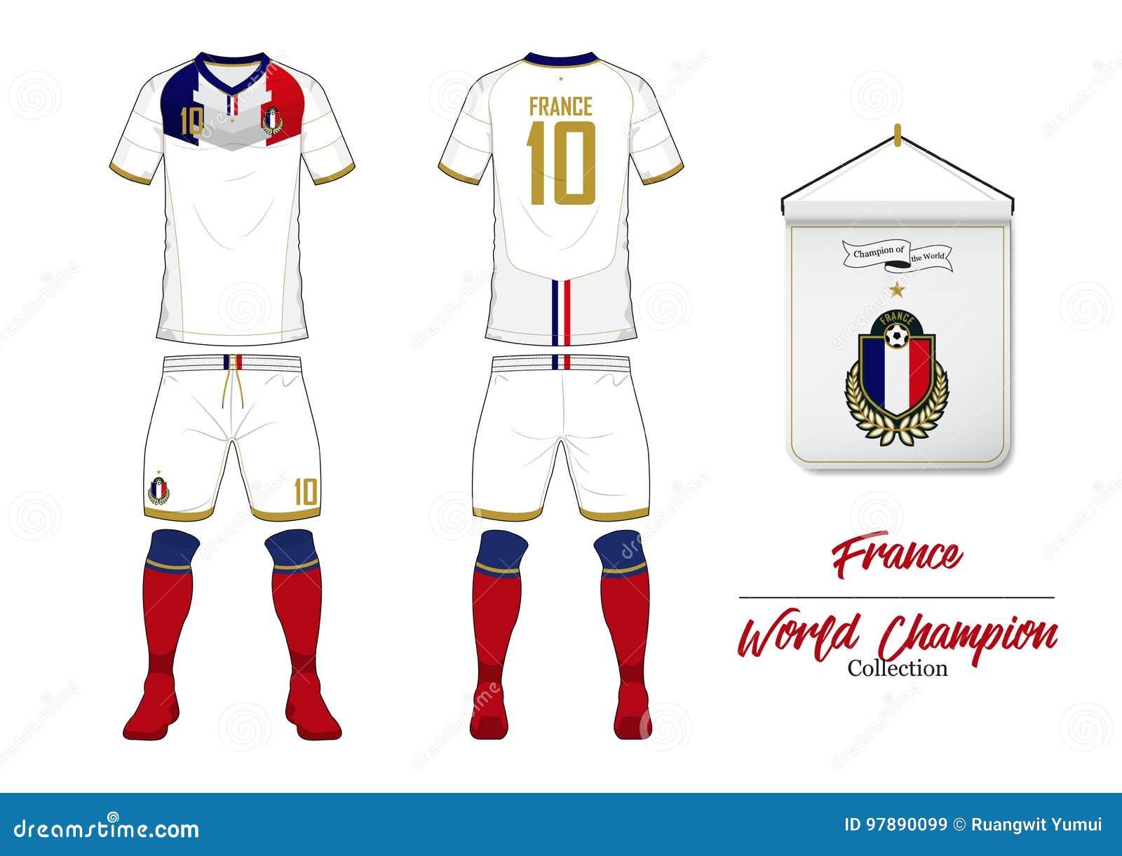 Fußballtrikot Oder Fußballausrüstung Frankreich ...