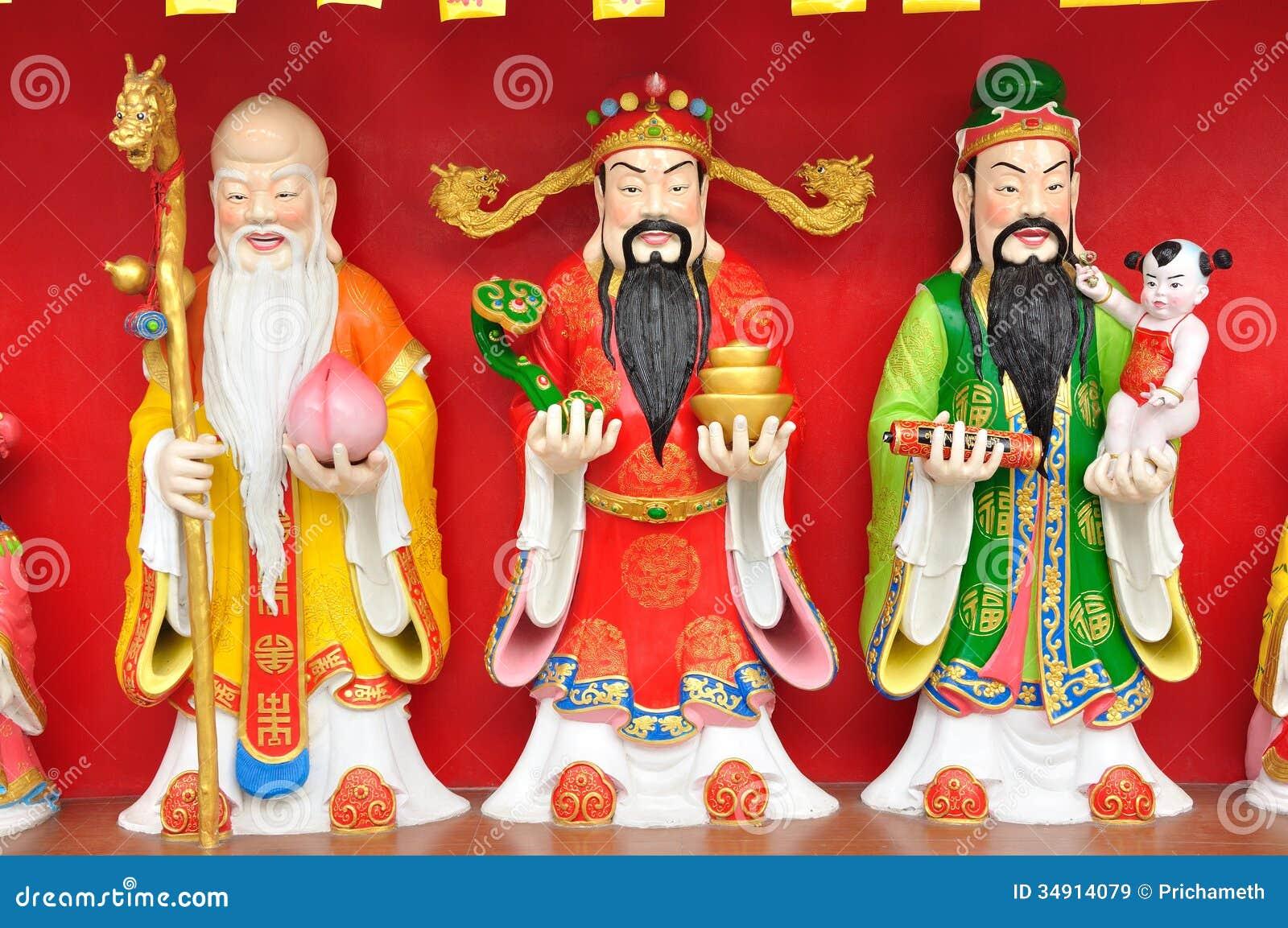 Fu Lu Shou (Hok Lok Siu) staty